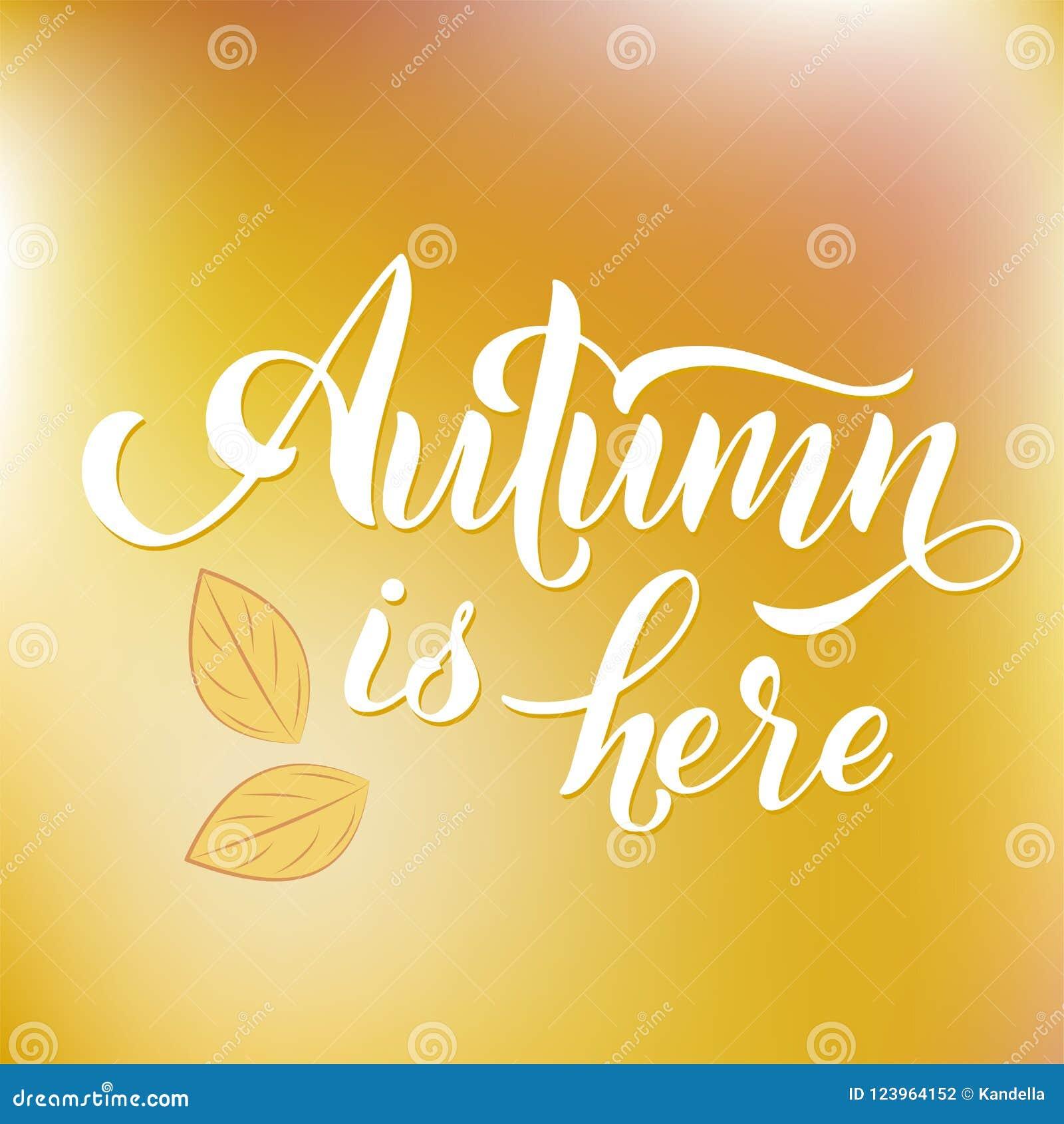 Hello Autumn Lettering Seasons Greetings Fall September Stock