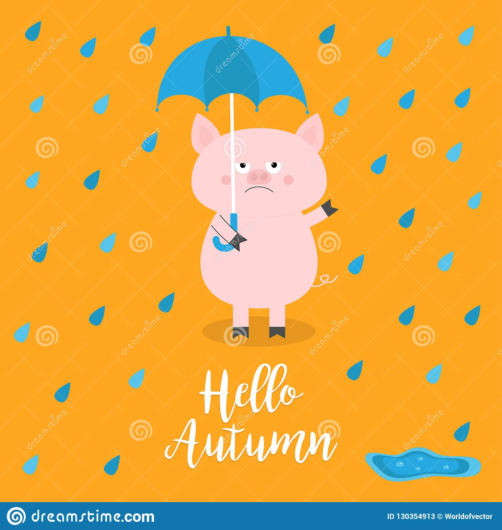 Hello autumn. Pig holding blue umbrella. Rain drops, puddle. Angry sad emotion. Hate fall. Cute funny cartoon baby character. Pet