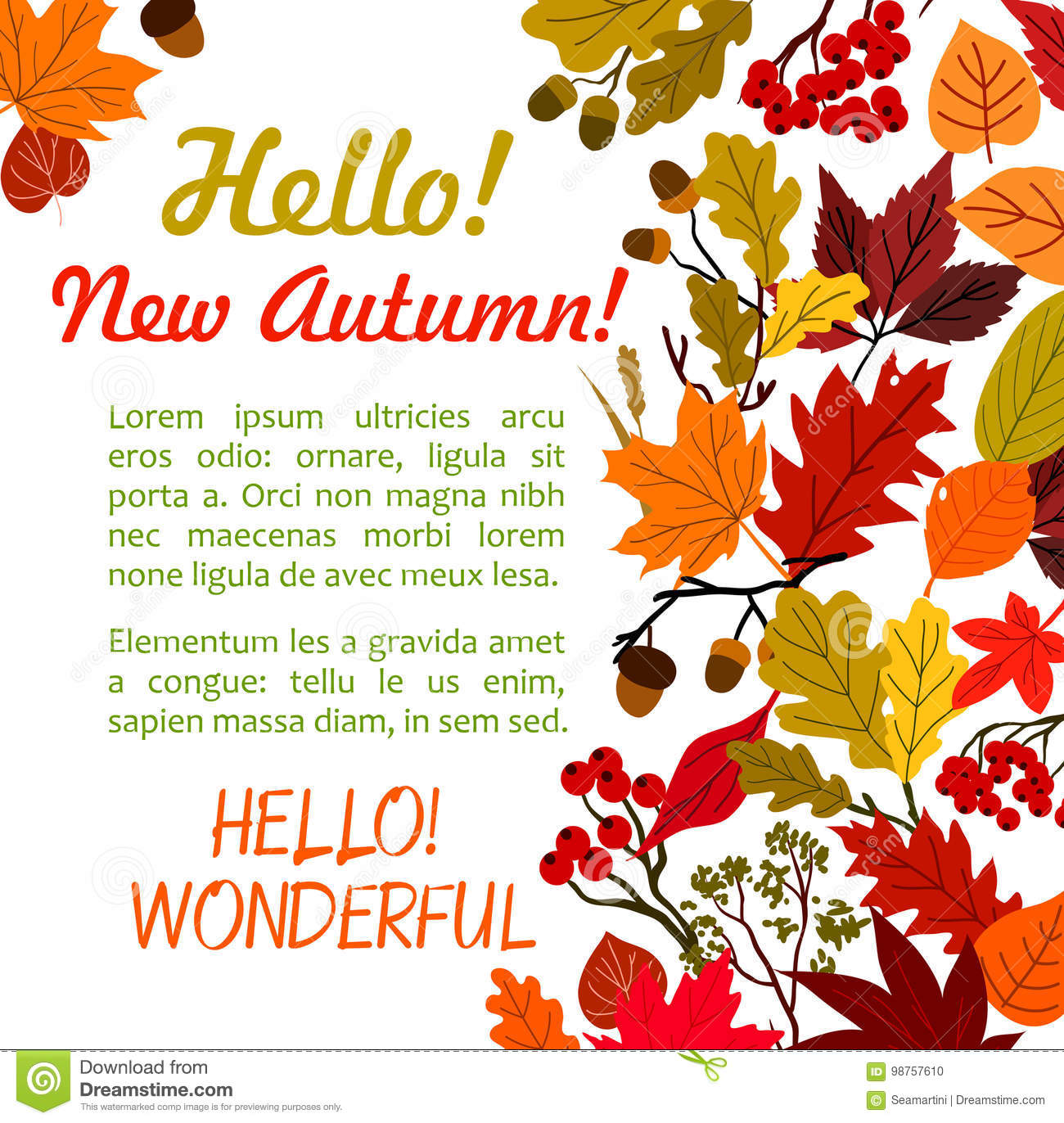 Hello Autumn Poster Template With Fall Leaf Border Stock Vector