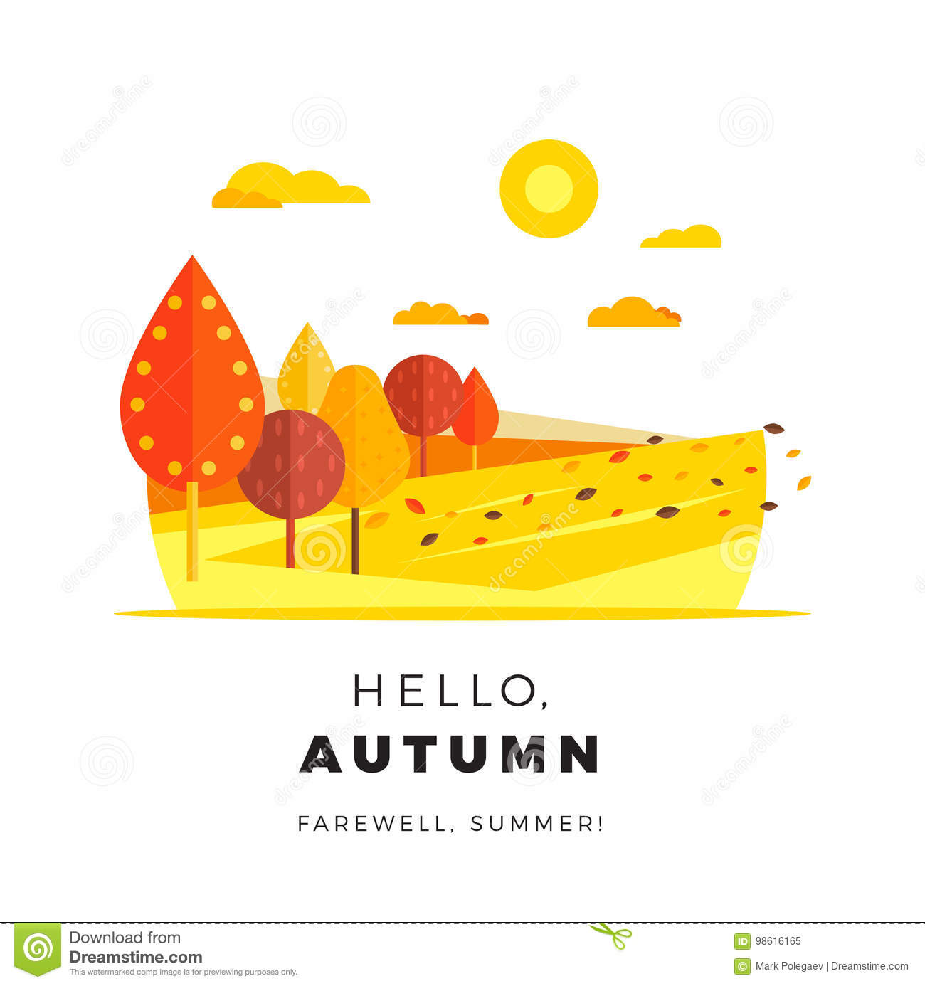 Hello Autumn Promotion Web Banner With Greeting Text. Promo Fall Season  Discount Layout With Rural Landscape. Vector Seasonal Discount Template  Design.