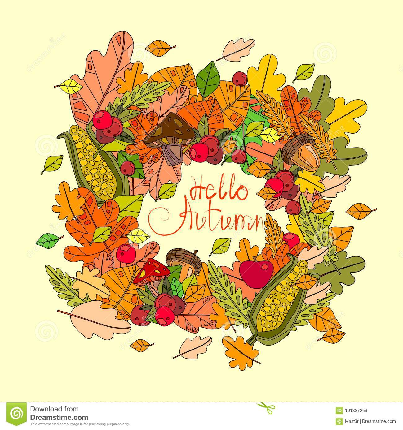 Hello Autumn Season Banner With Hand Draw Lettering Fall Greeting Card.  Drawing, Abstract.