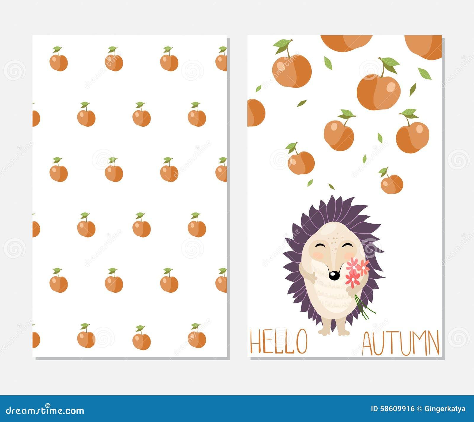 hello autumn stylish inspiration card in cute stock vector