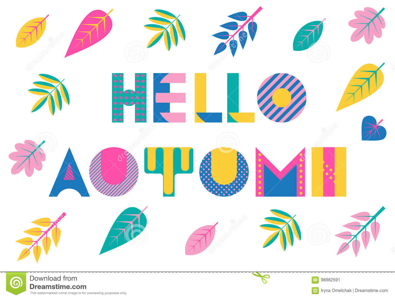 Postmodern Autumn >> Hello Autumn Trendy Geometric Font In Memphis Style Of 80s 90s