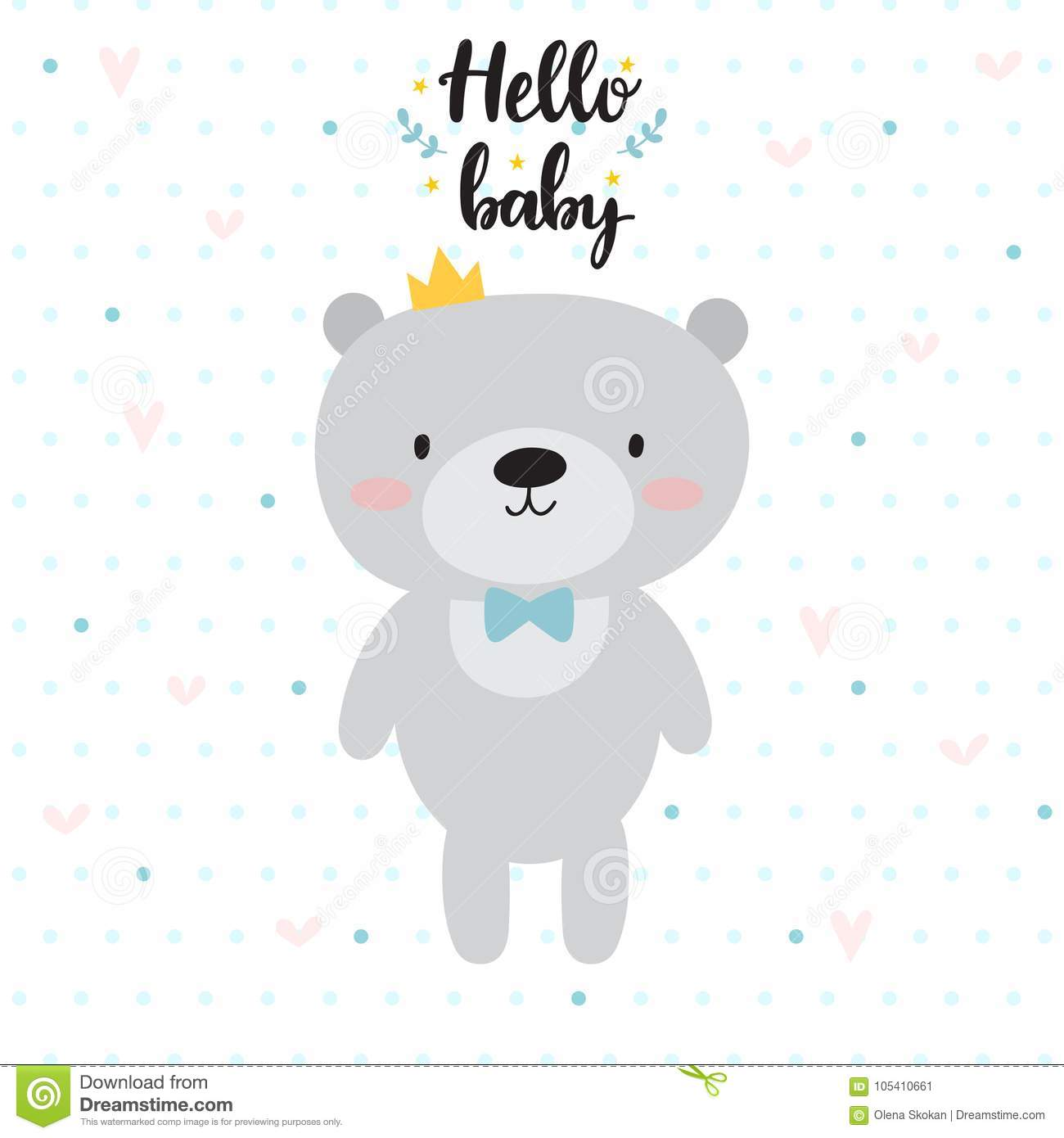 Hello Baby Cute Card With Cartoon Bear And Crown Baby Shower Card