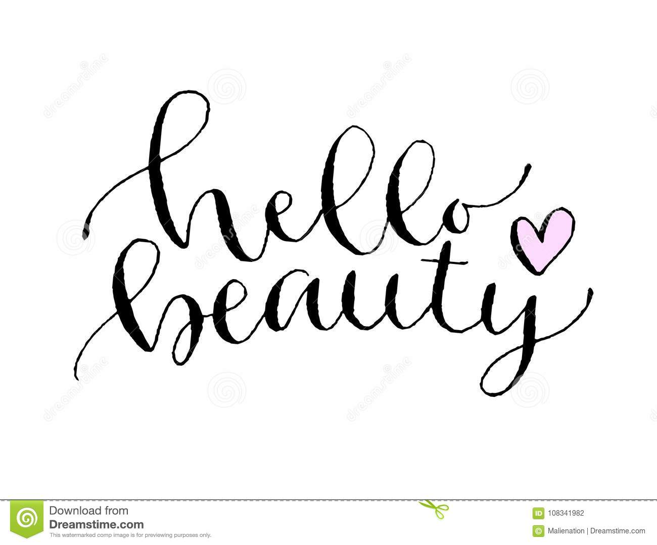 Hello Beauty Handwritten Greeting Card Printable Quote Template - T shirt graphic design template