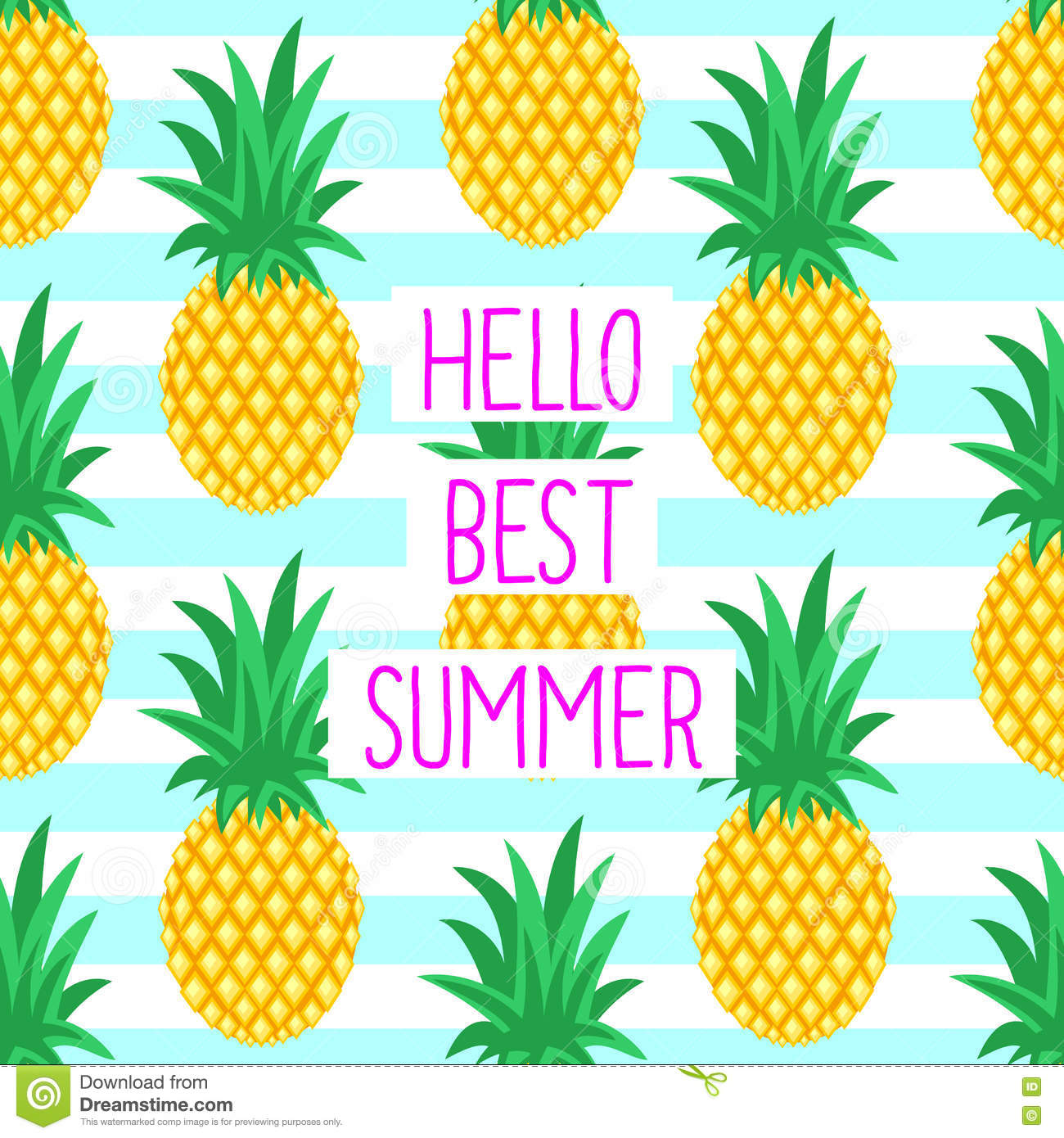 Hello Best Summer Card With Cute Pineapples Stock Vector - Image: 73430249