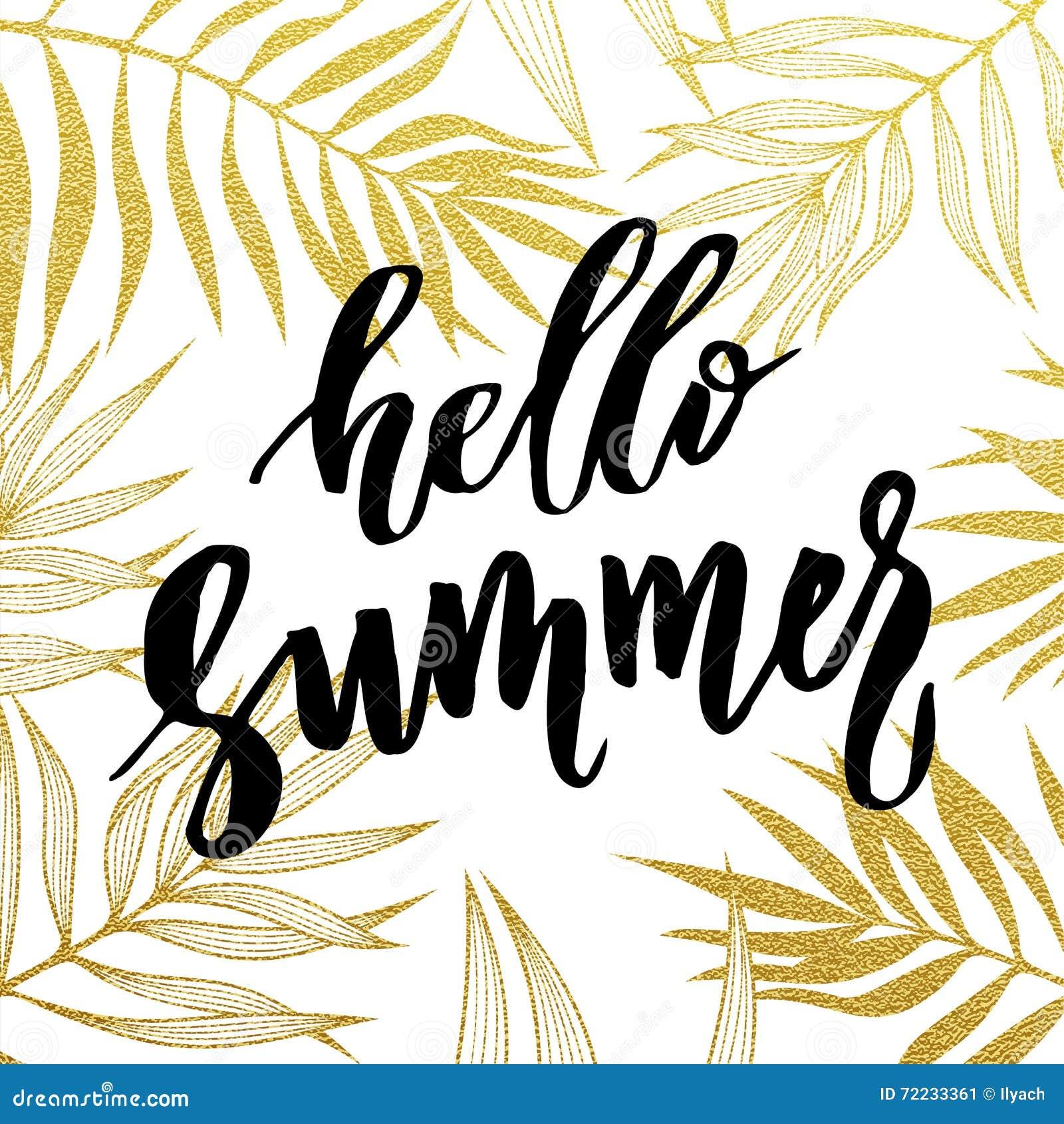 Hello-de Zomerkaart met tropisch blad naadloos gouden patroon