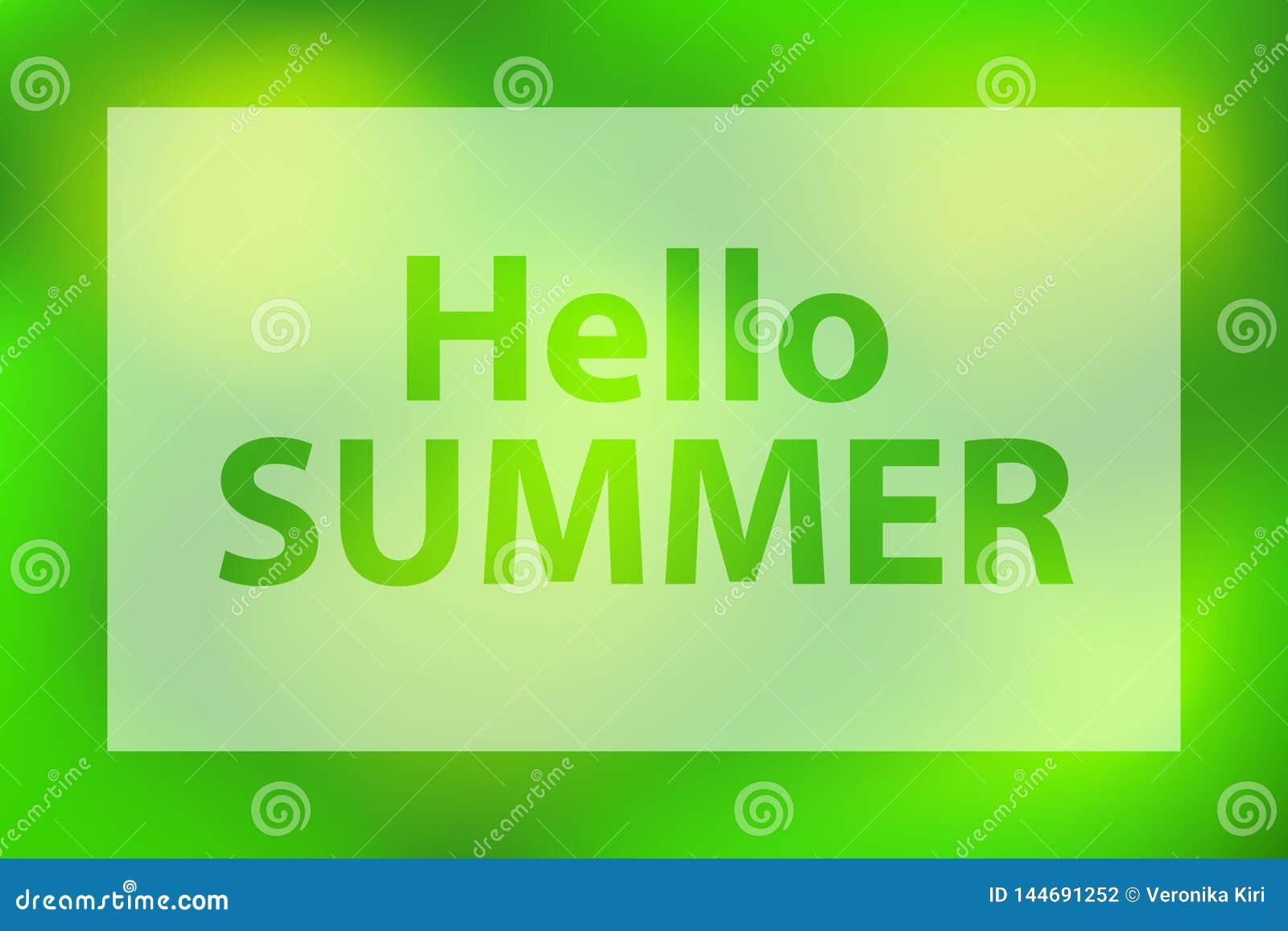 Hello-de zomerwoorden op een heldergroene achtergrond Affiche met wit doorzichtig kader