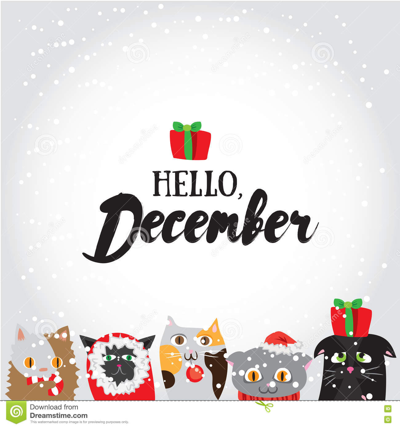Hello december holiday greeting card with cute cat characters and holiday greeting card with cute cat characters and calligraphyelements modern lettering with with cartoons kristyandbryce Gallery