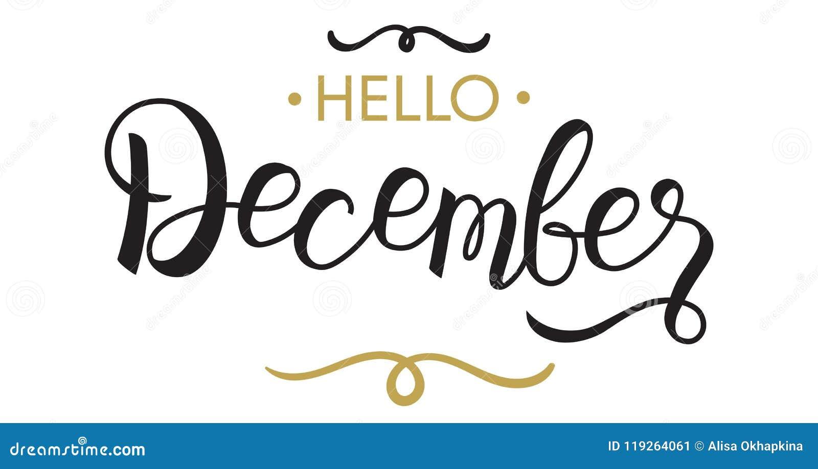 Hello, December - Typography, Hand Lettering Stock Vector