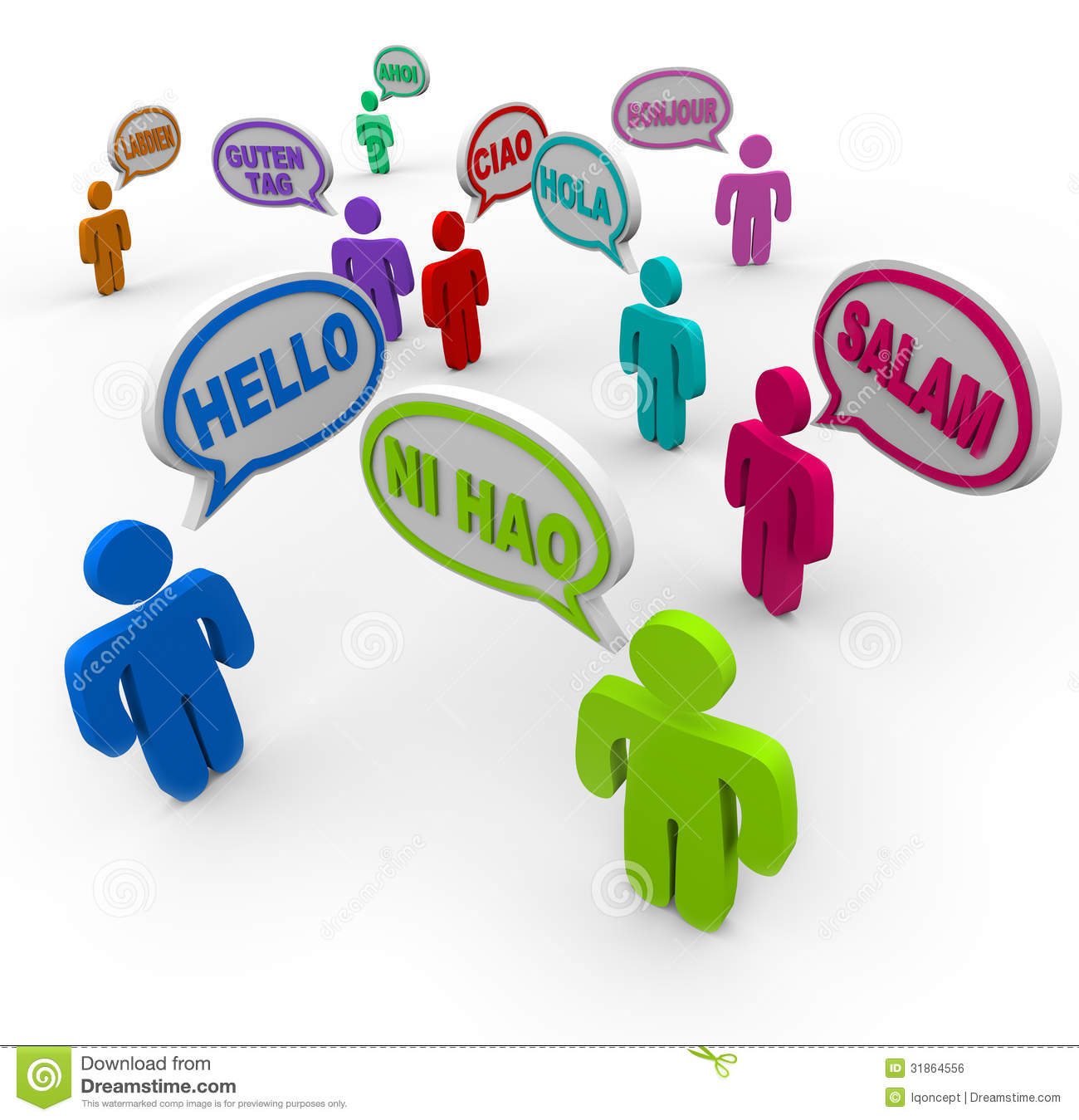 Hello In Different International Languages Greeting People Stock