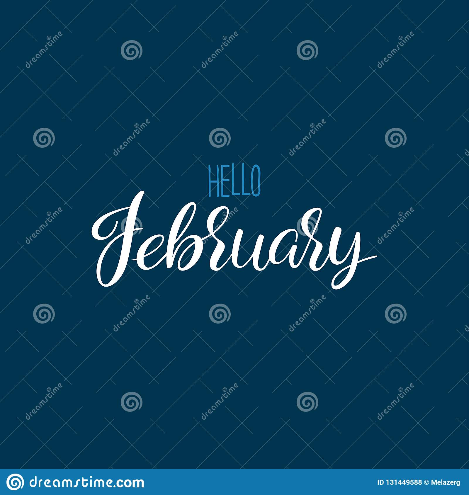 Hello February calligraphy stock vector  Illustration of
