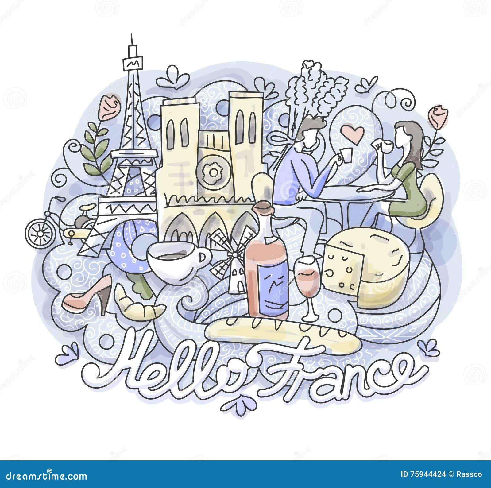 Hello France Romance Illustration Stock Vector Illustration Of