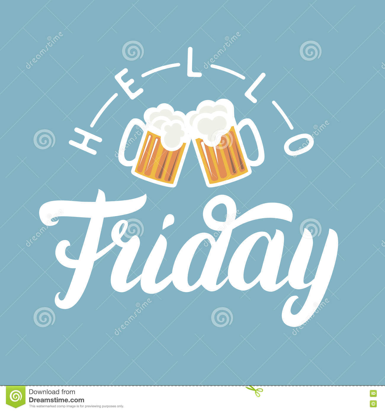 Hello friday hand lettering with pint of beer on blue background hello friday hand lettering with pint of beer on blue background voltagebd Images