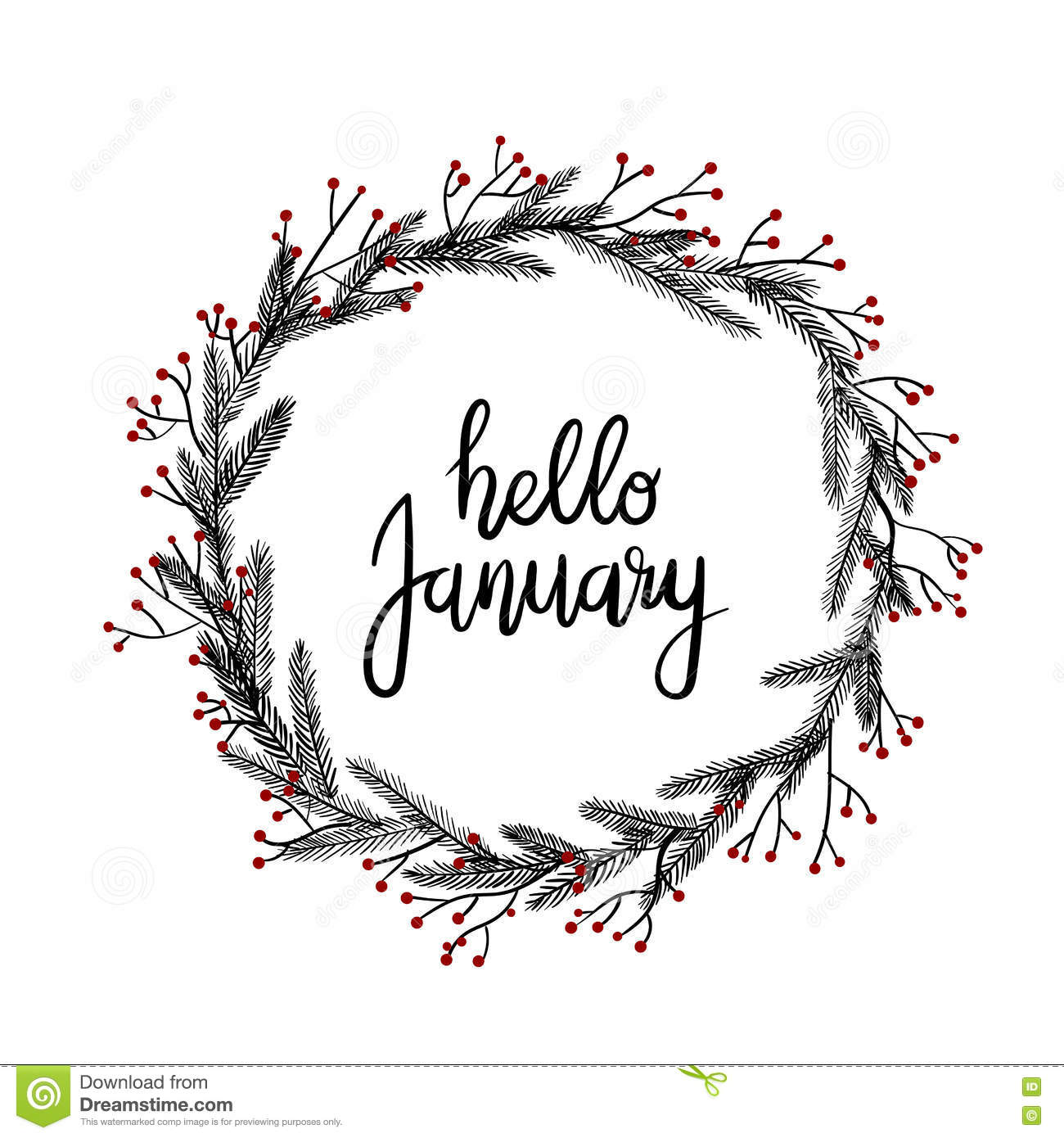 Hello january hand lettering greeting card modern Images of calligraphy