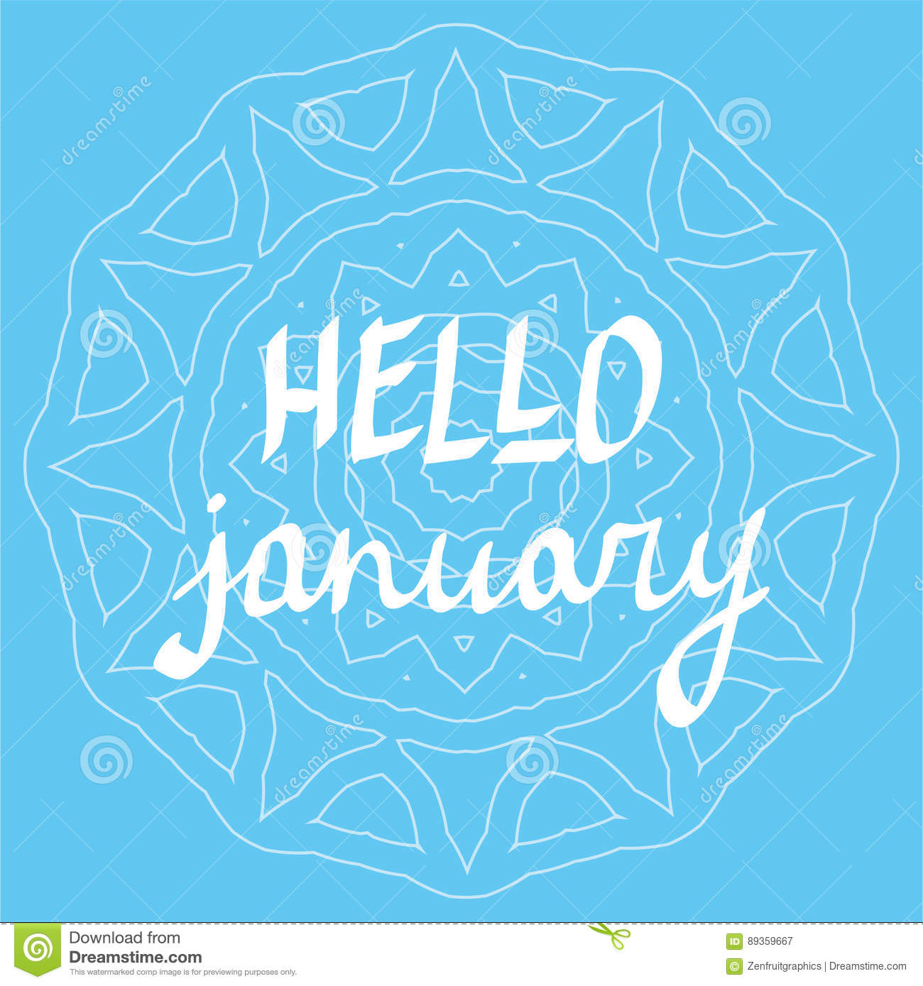 Quotes January Hello January Hand Written Lettering Vector Winter Theme Poster