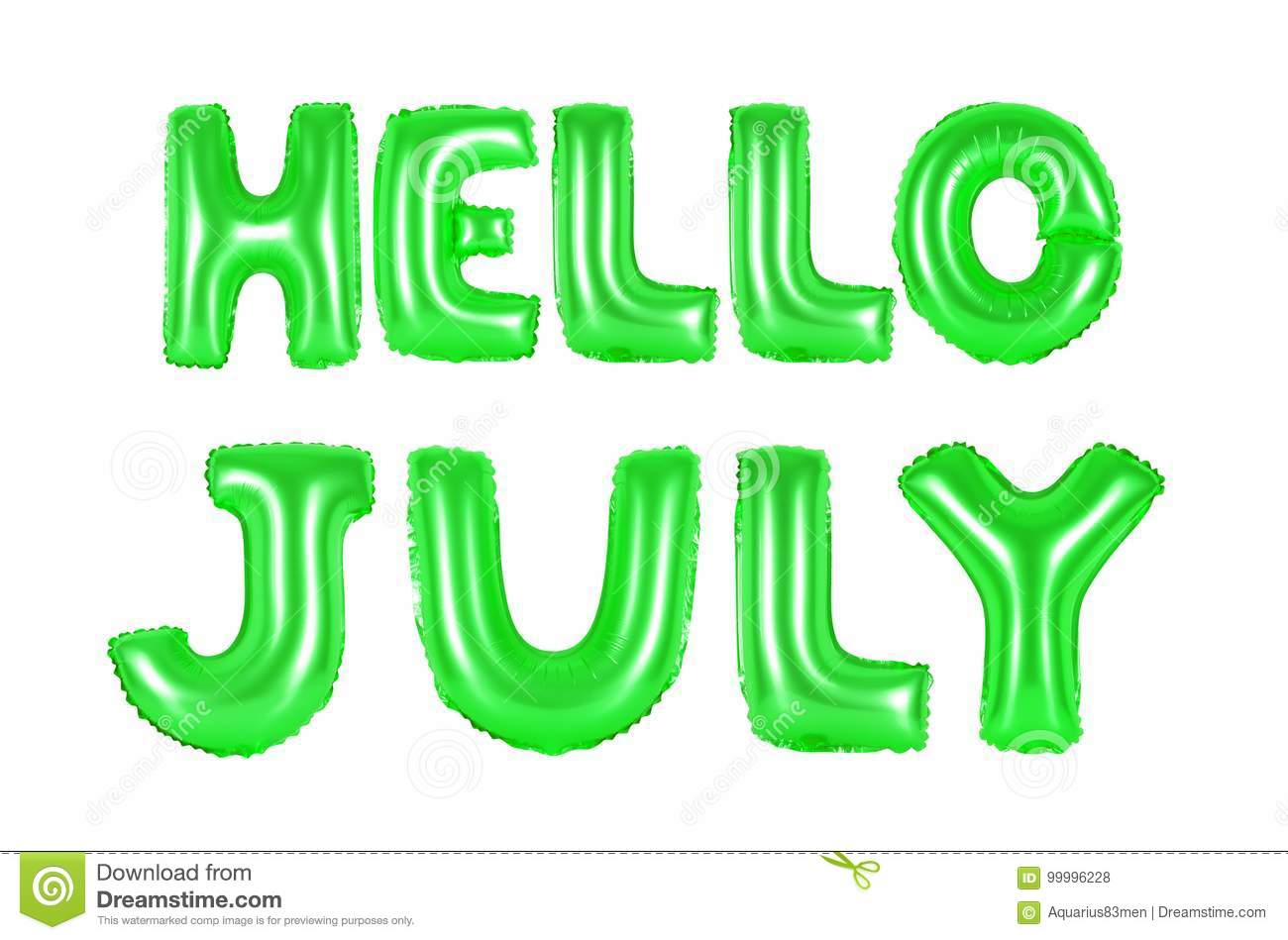 Hello july, green color stock photo. Image of design - 99996228