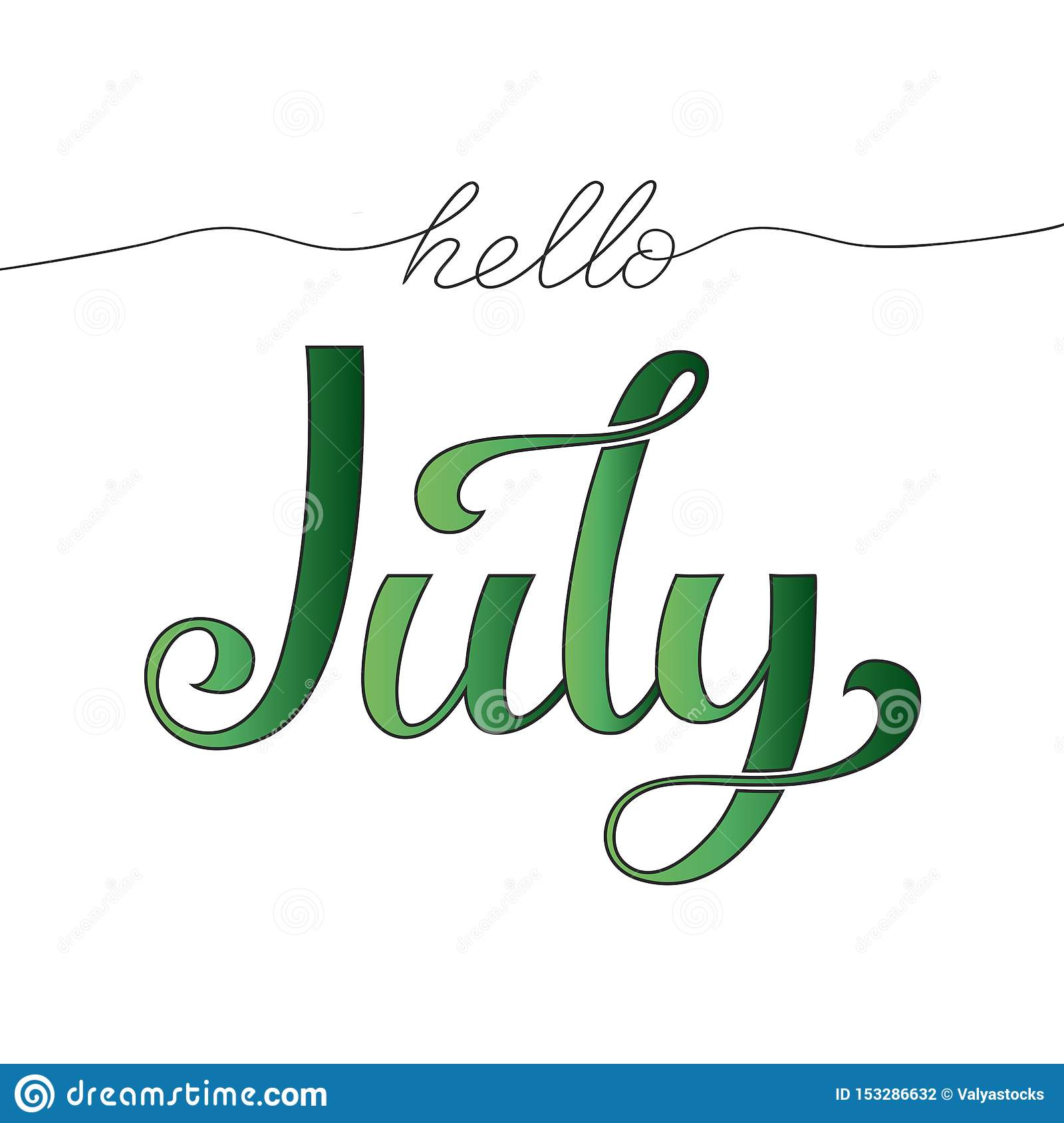 Hello July hand drawn lettering. Vector illustration