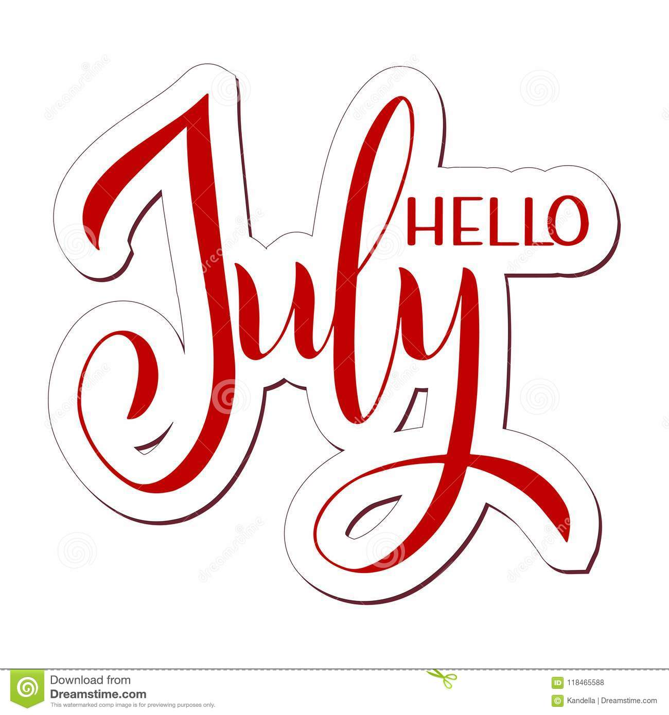 Hello July Lettering Stock Vector Illustration Of Message 118465588