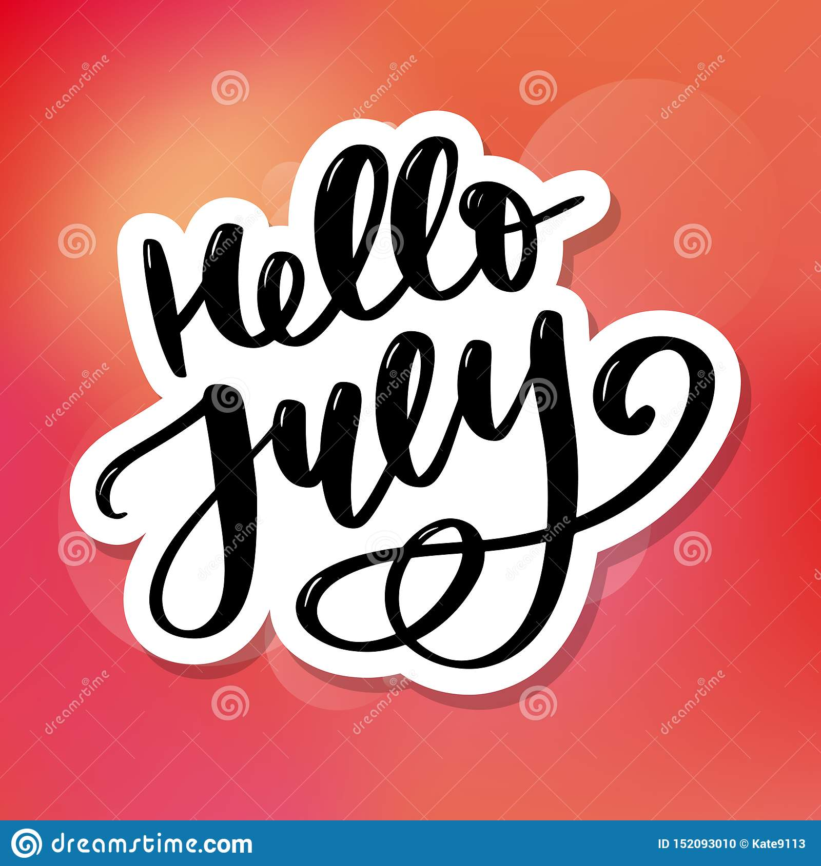Hello july lettering print. Summer minimalistic illustration. Isolated calligraphy on white background