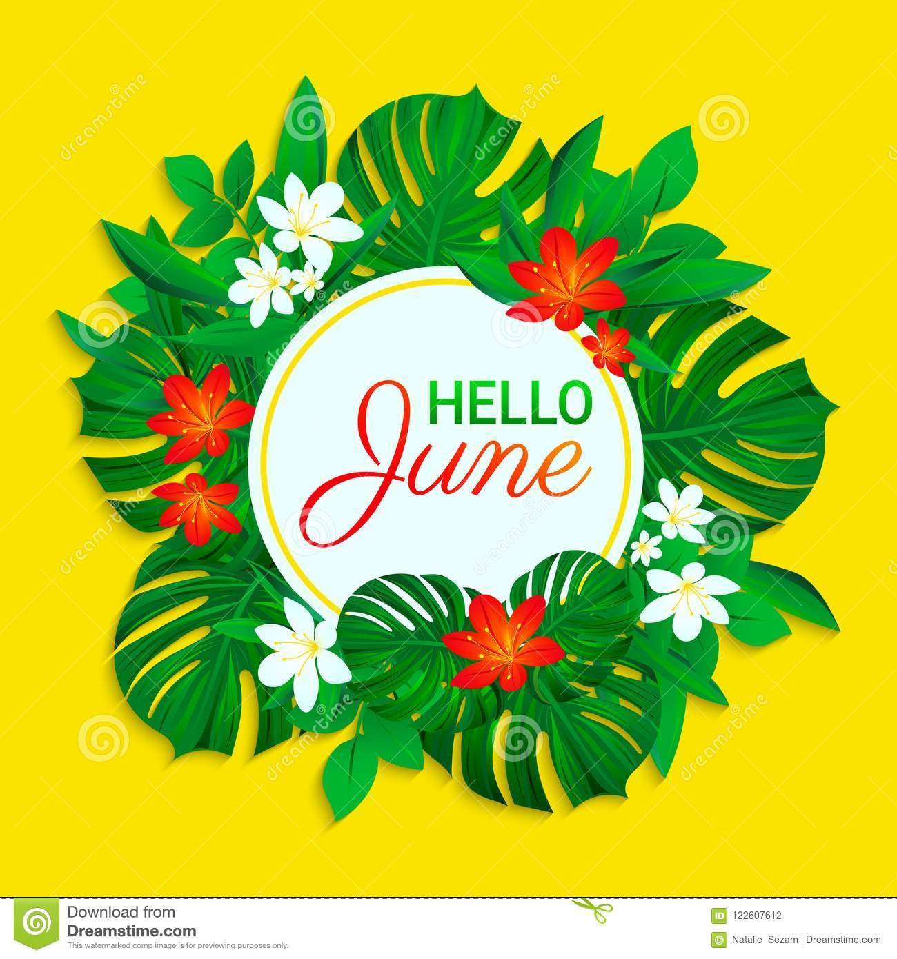 Hello June Card Summer Tropic Design Exotic Leaves Flowers Simple Text