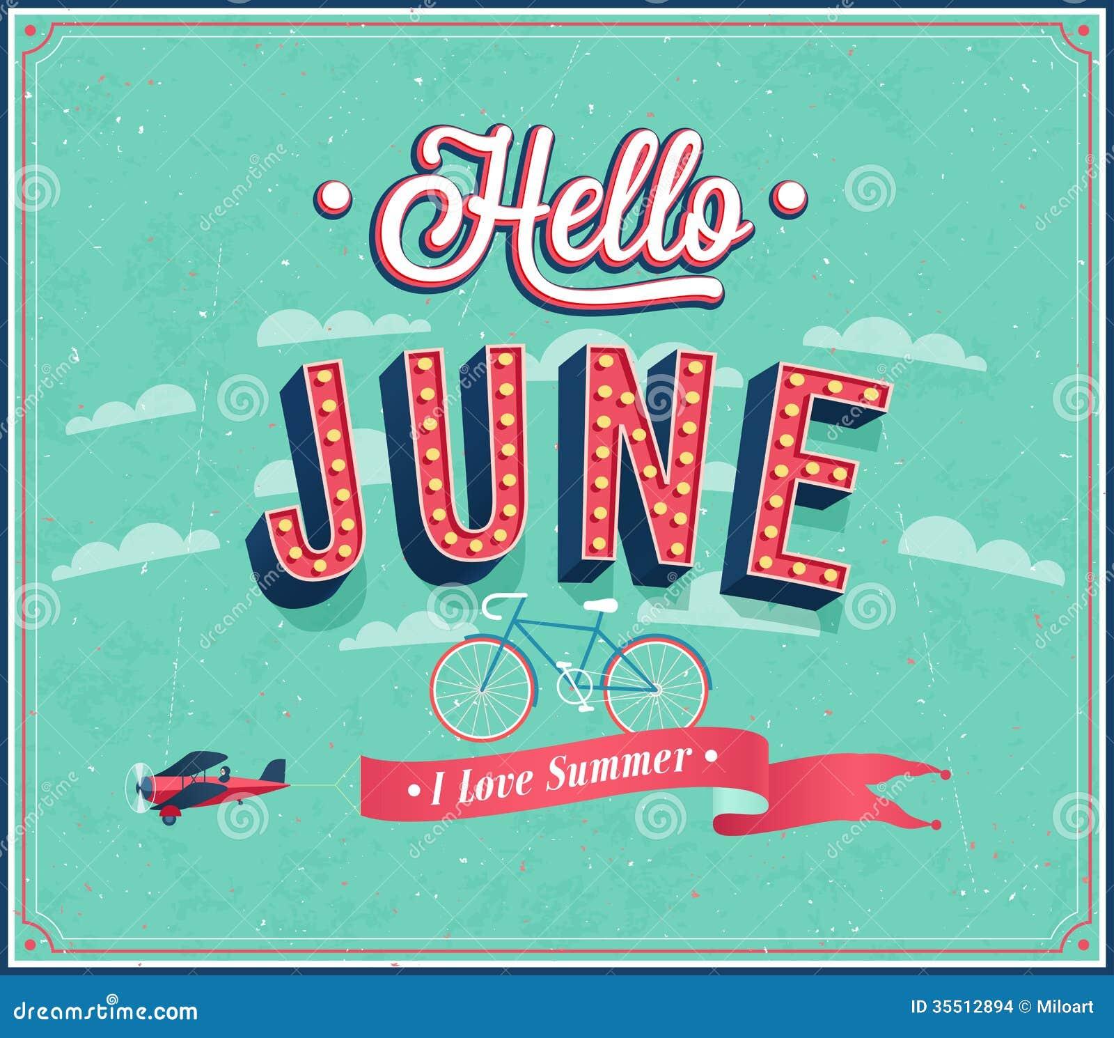 Hello june typographic design  Vector illustration Hello June Images