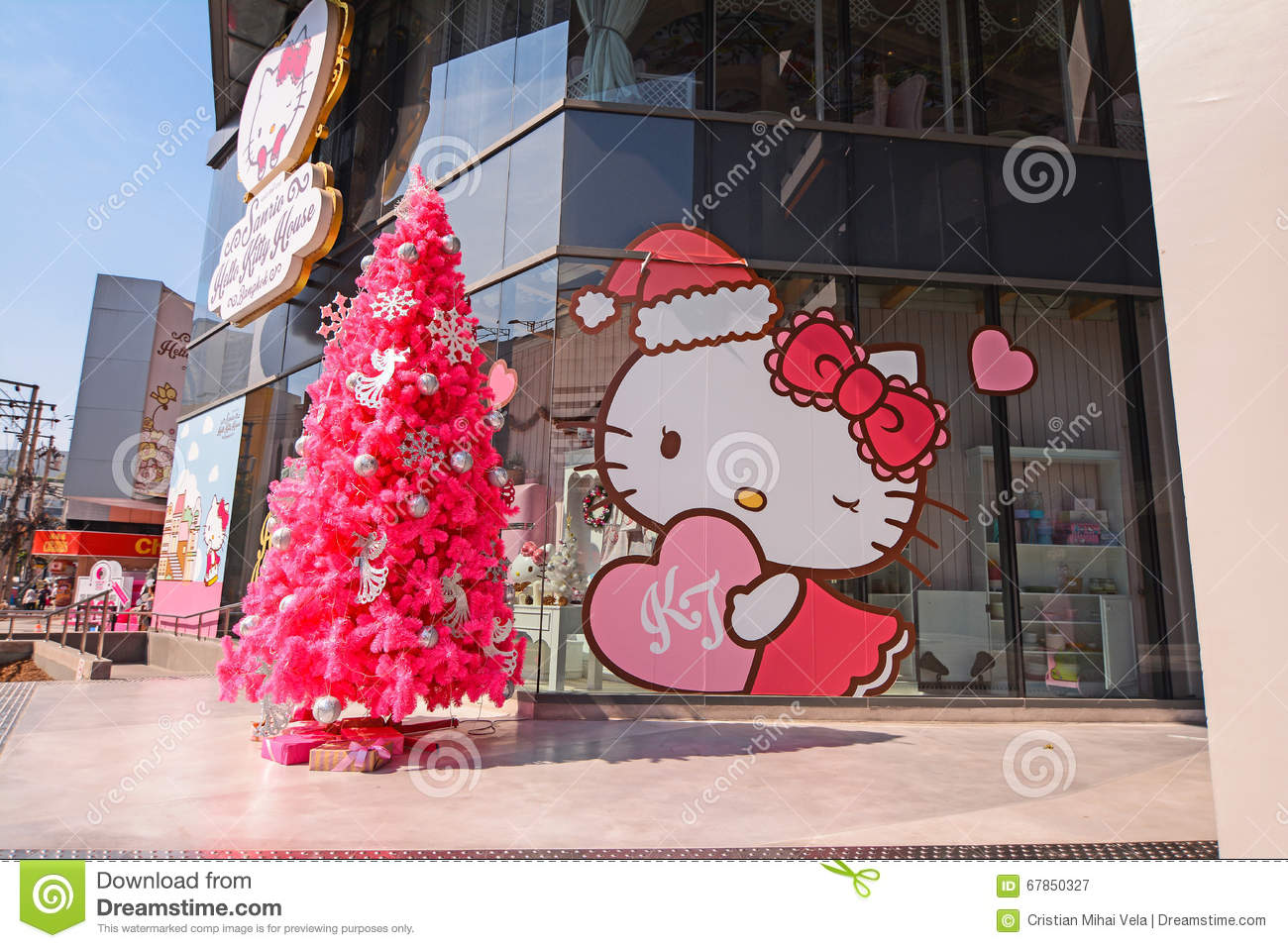 Hello Kitty House hello kitty house bangkok cafe shop spa stock photos, images