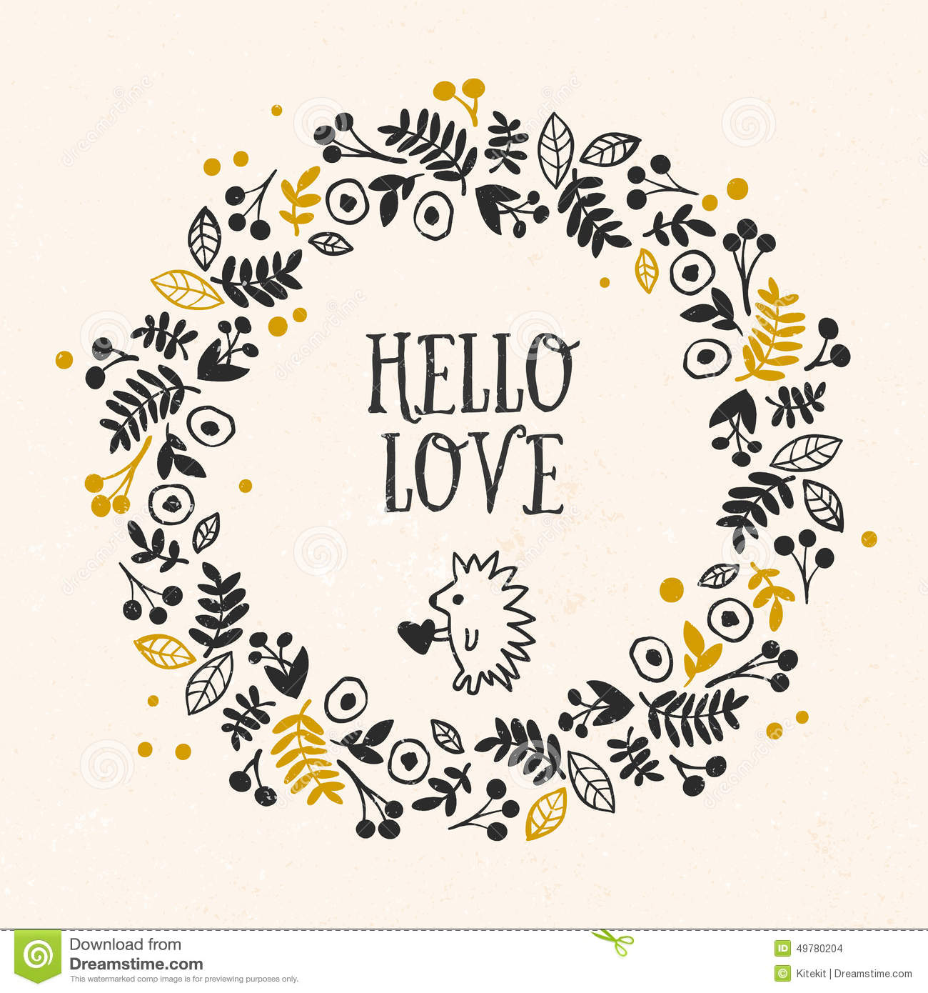 Hello Love Greeting Card With Lettering And Flower Wreath