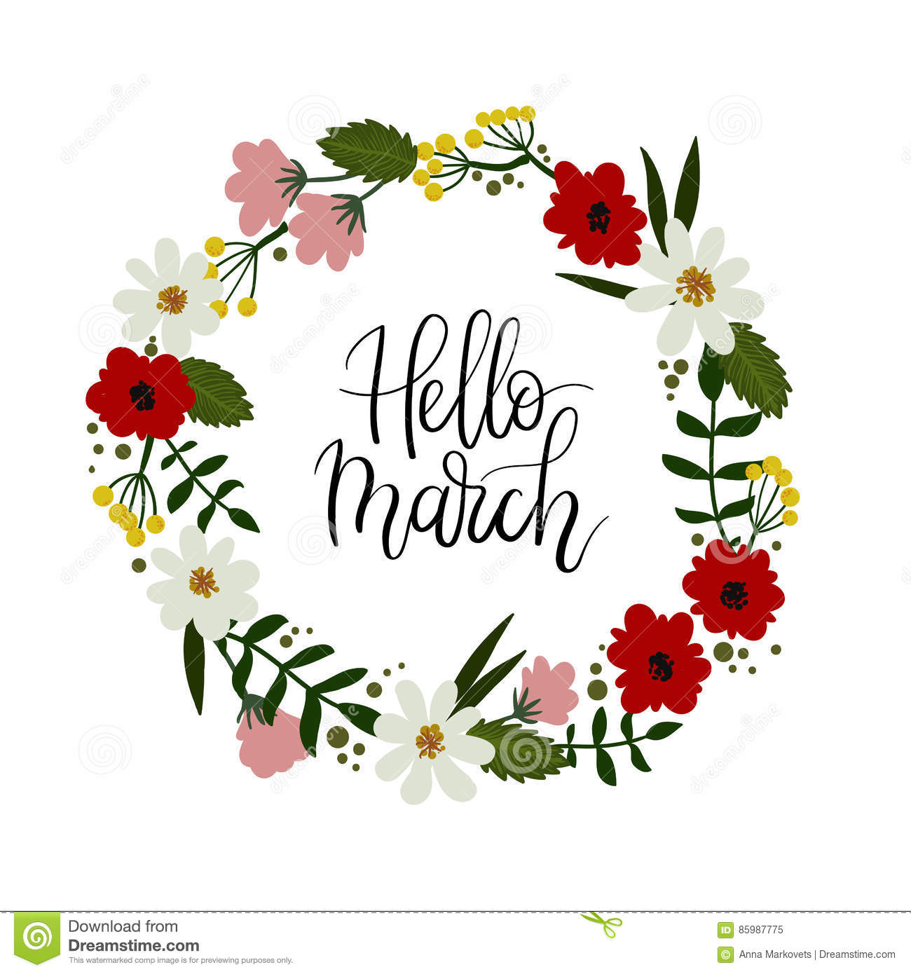 hello march lettering greeting card floral wreath
