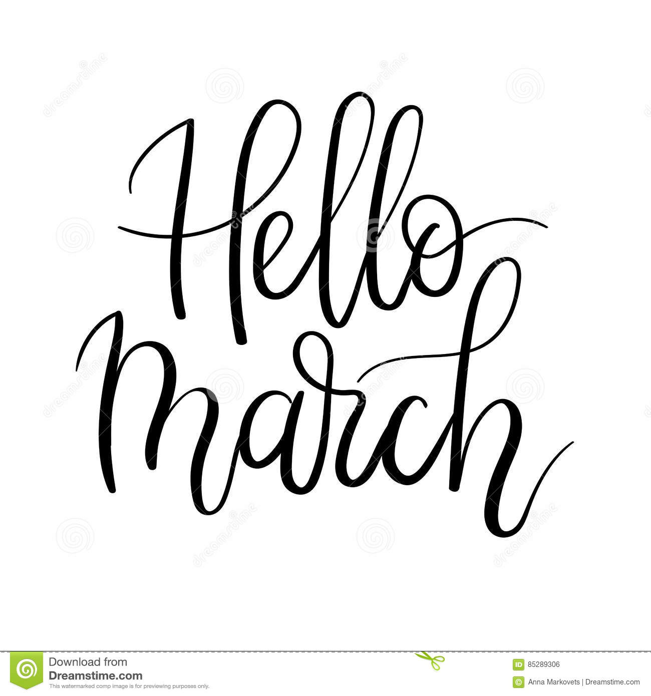 Hello March Hand Lettering Inscription  Spring Greeting Card