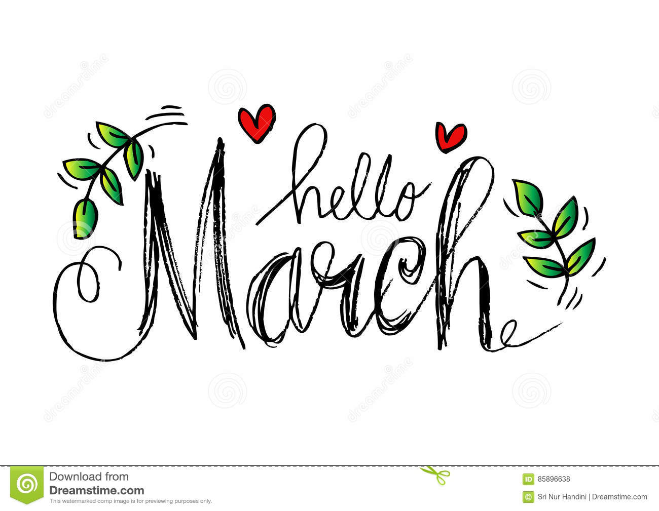 Hello March lettering