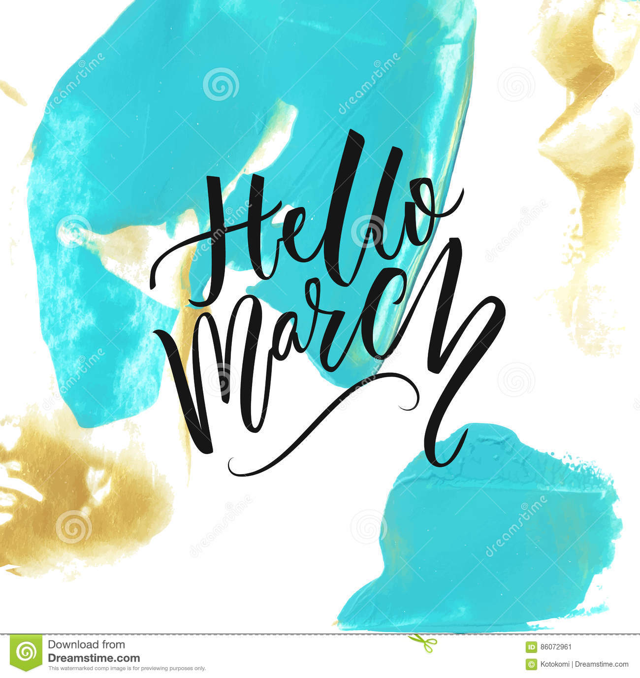 Hello March Text At Artistic Background With Blue And Gold Paint