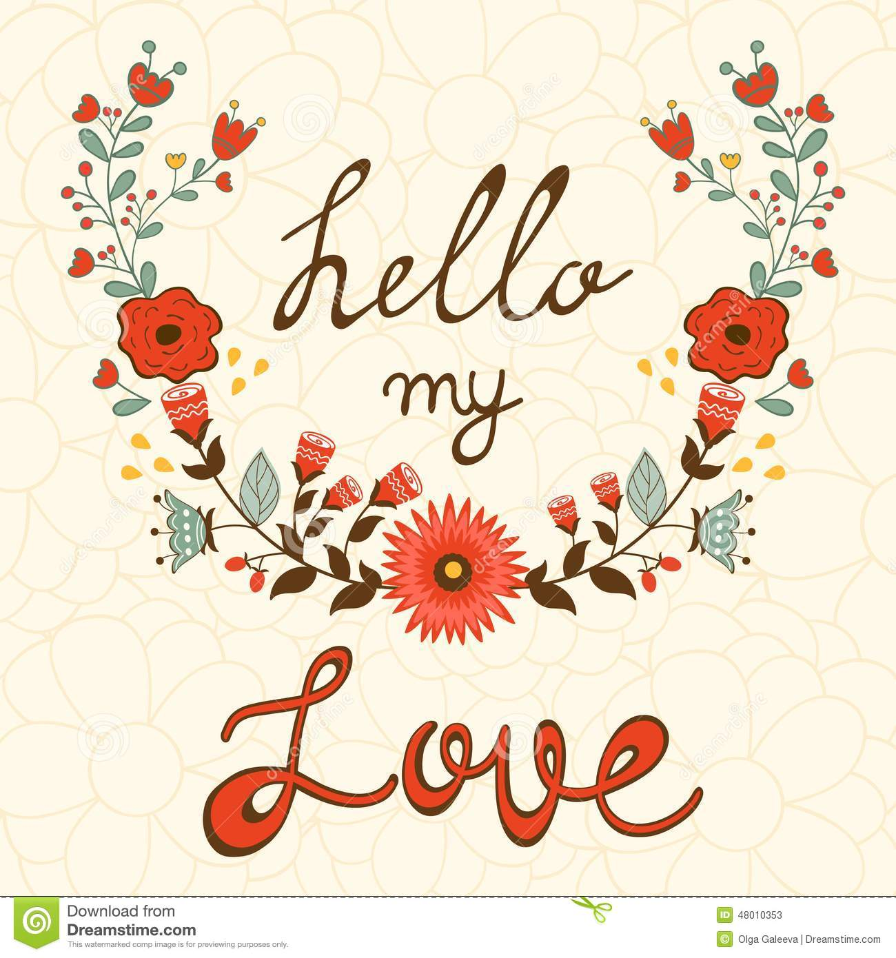 Hello My Love. Elegant Card With Floral Wreath Stock Vector - Image ...