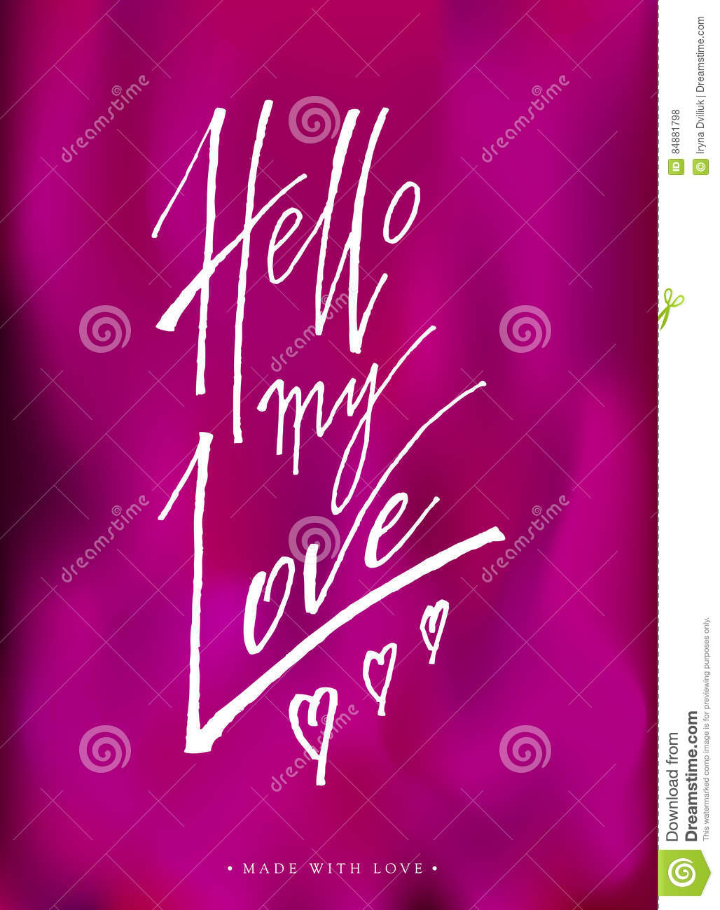 Hello My Love Greeting Card With Calligraphy Stock Vector