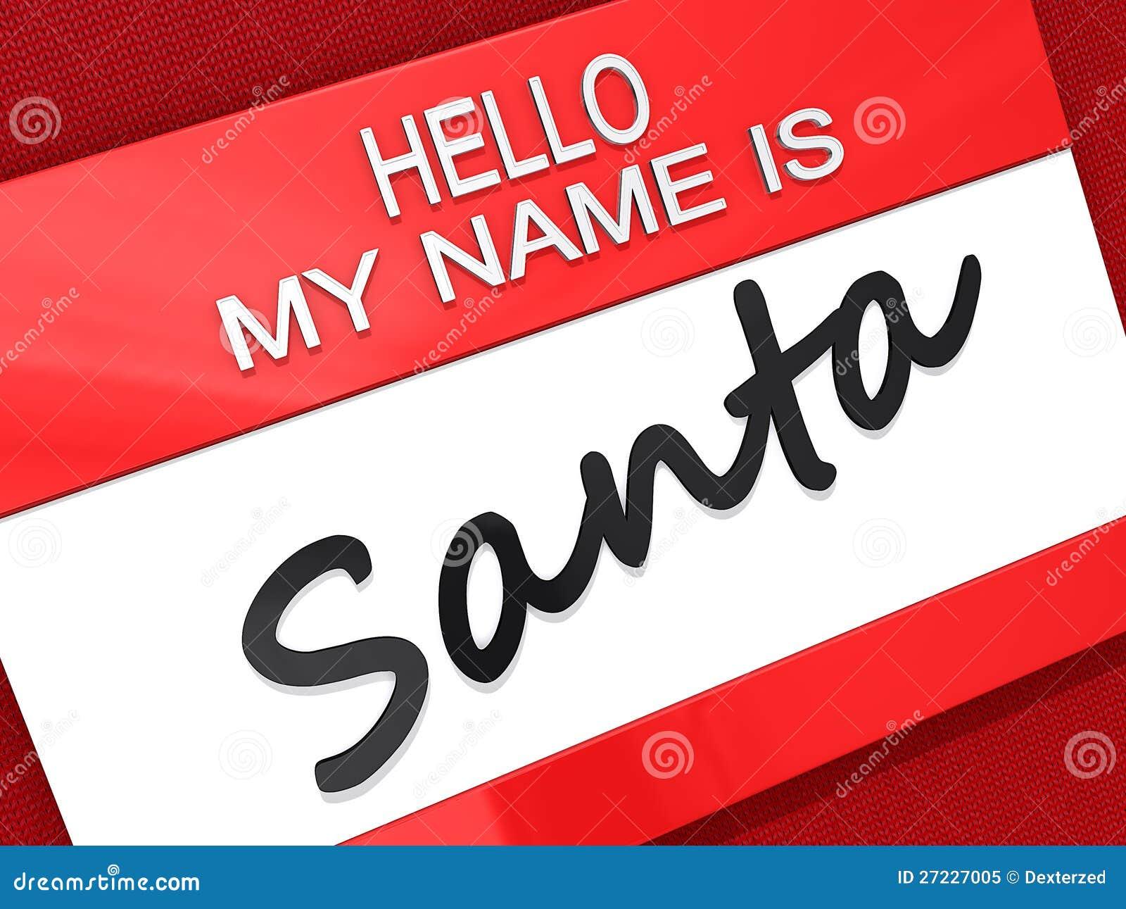 hello my name is santa sticker royalty free stock photo