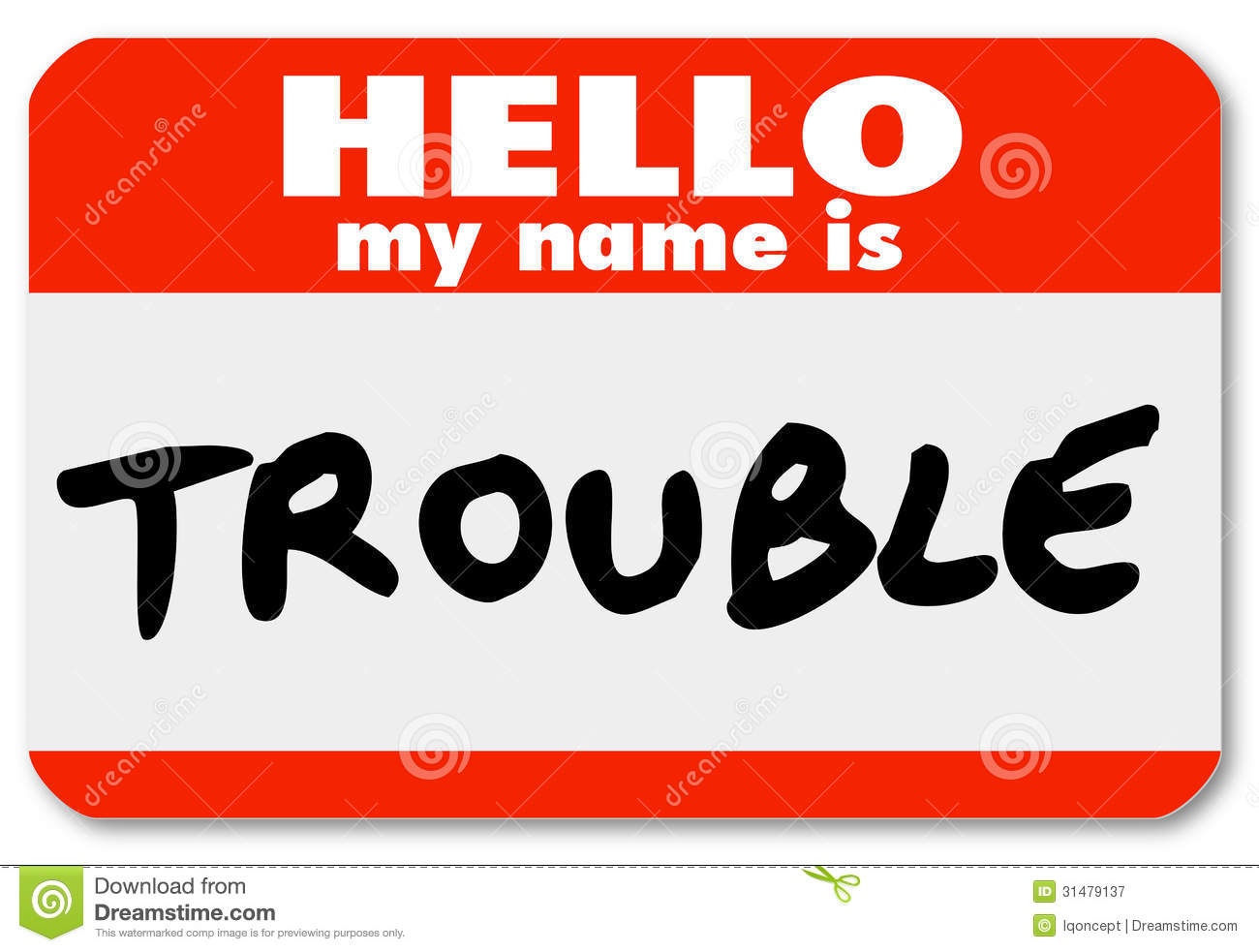 hello my name is trouble nametag sticker stock illustration