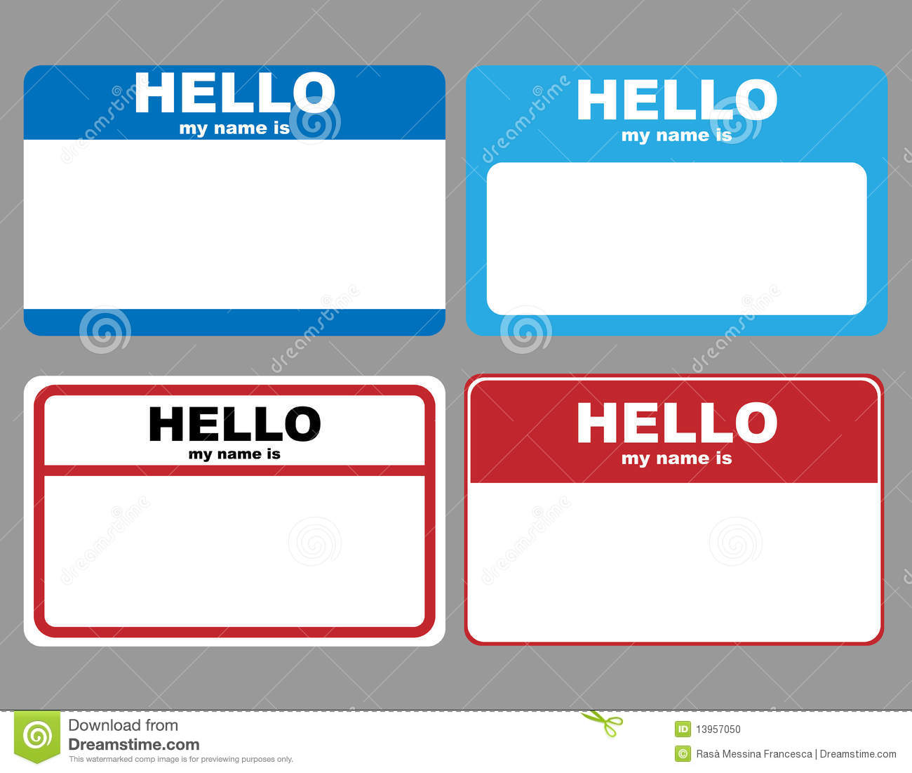 Hello name tags stock vector. Illustration of colorful