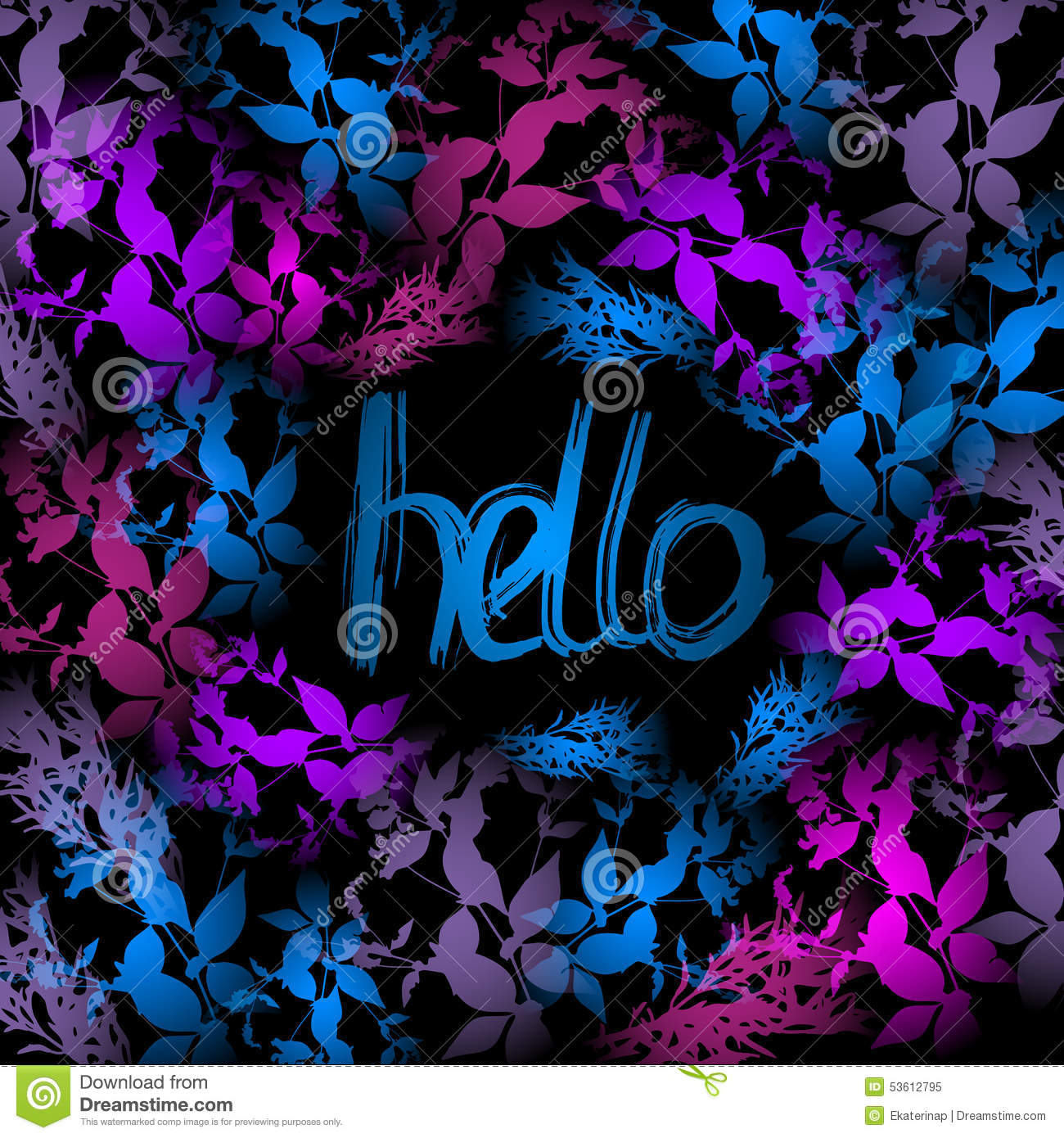 Hello Neon Light, Blue, Pink Leaves On Black Background ...