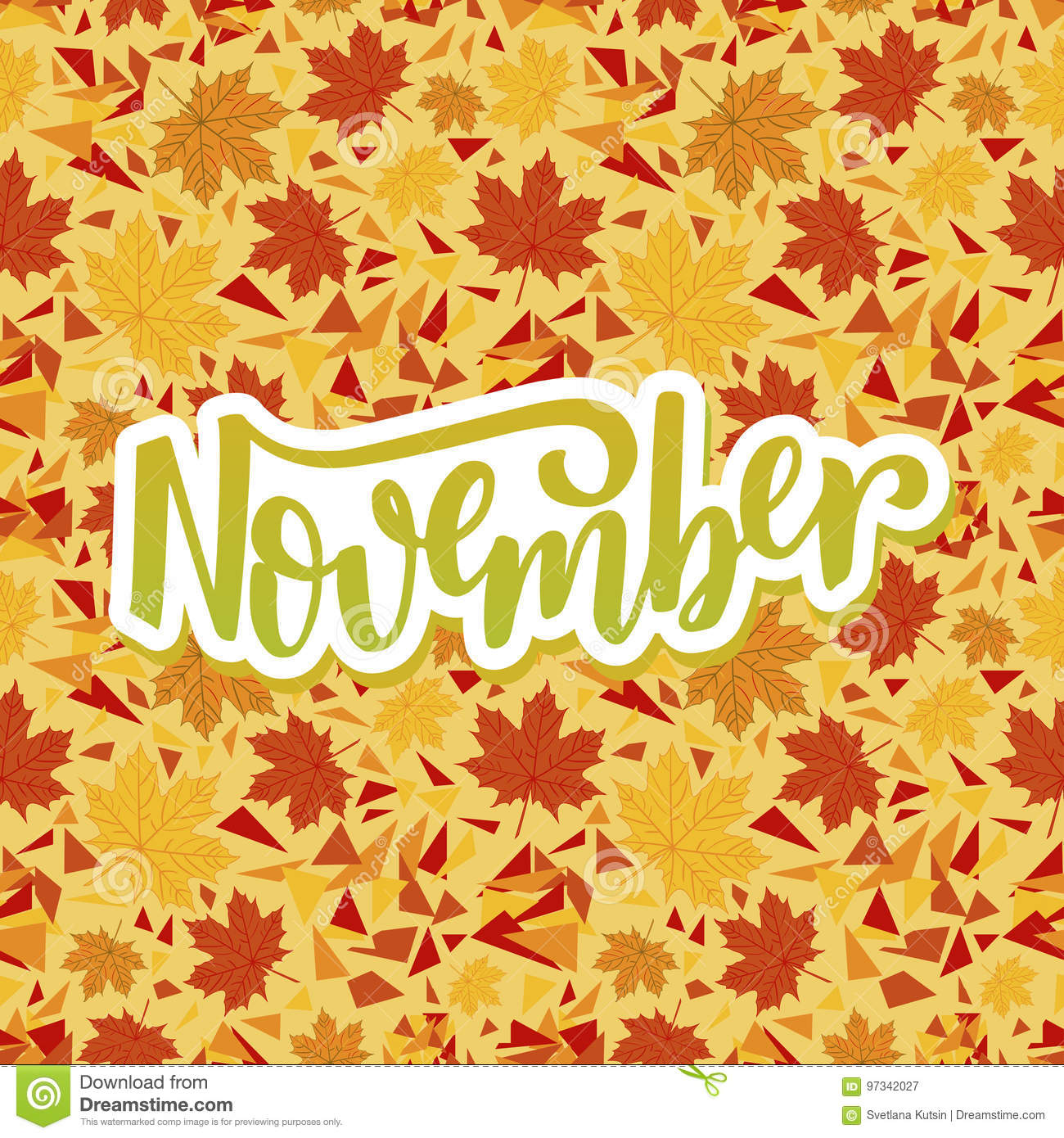 Hello November Inspirational Quote Stock Vector