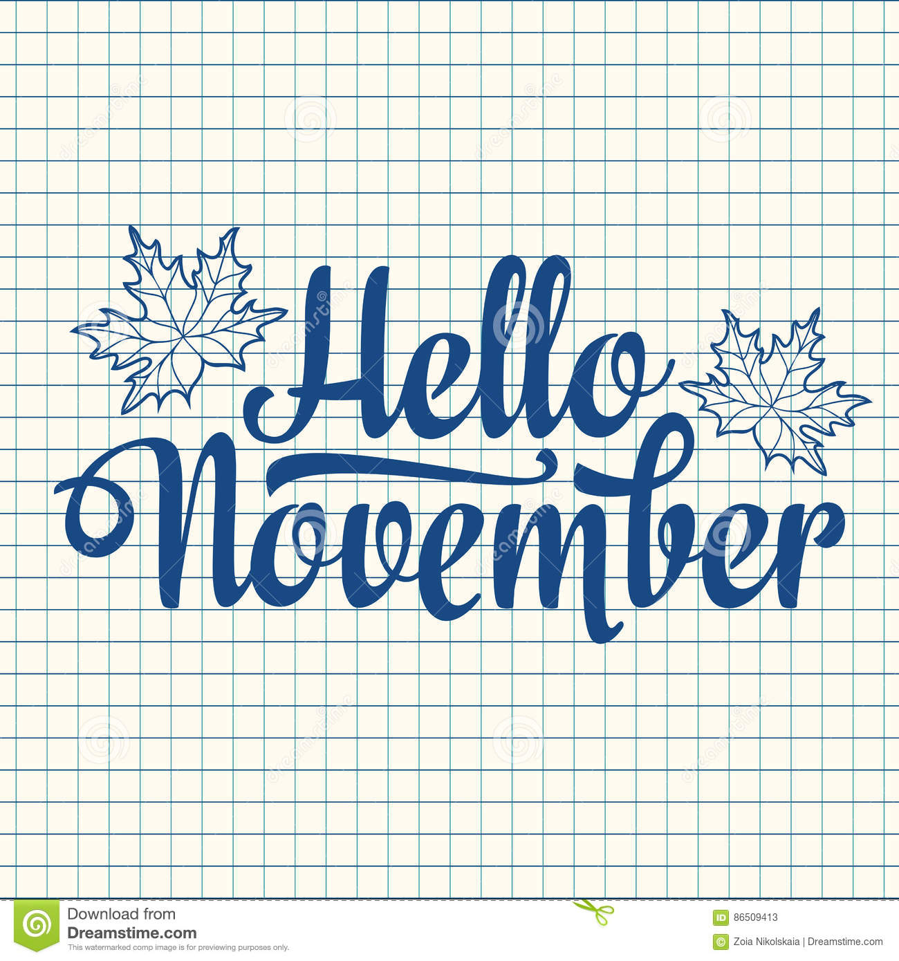 hello november lettering composition flyer or banner template