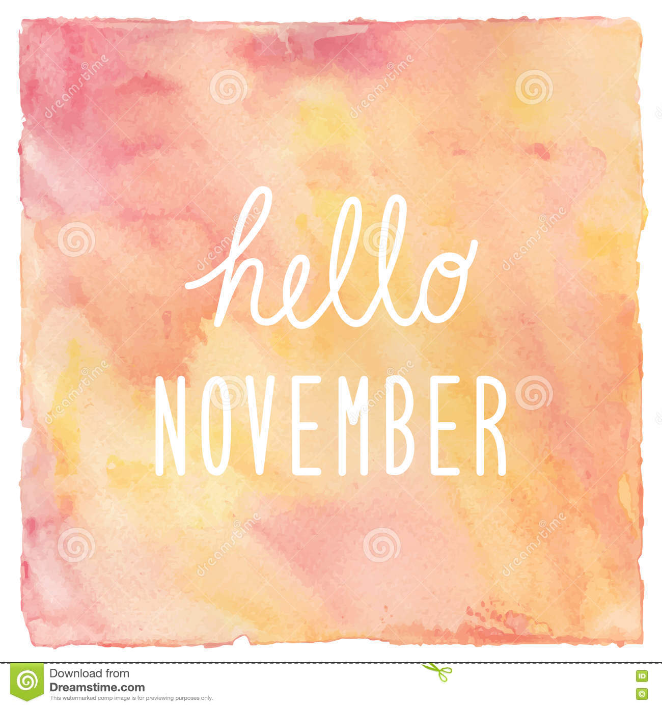 hello november text on red and yellow watercolor background stock