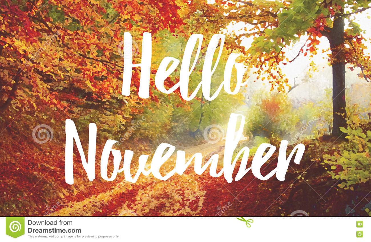 november hello text leaves orange letters trees bright dreamstime superposed