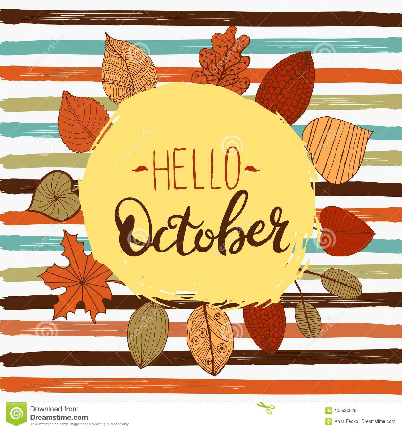 hello october autumn flyer template with lettering bright fall