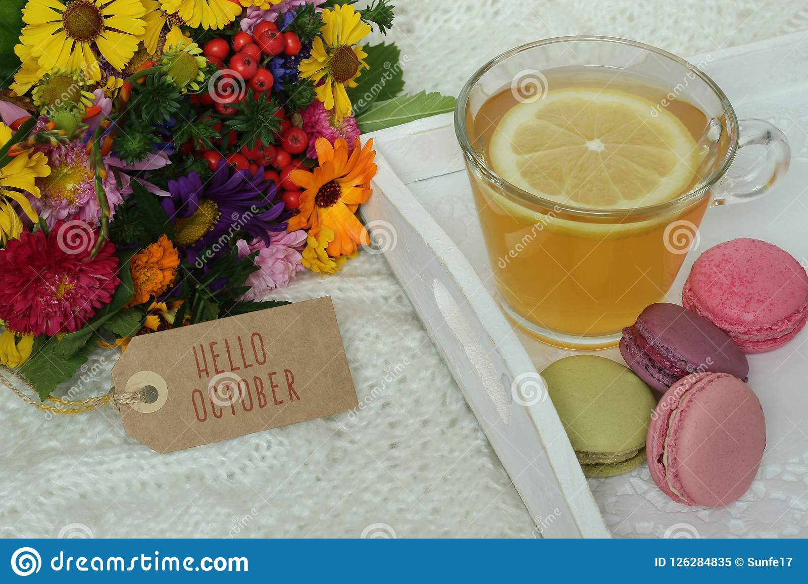 Hello october text on label autumn flowers and cup of tea stock download hello october text on label autumn flowers and cup of tea stock image mightylinksfo
