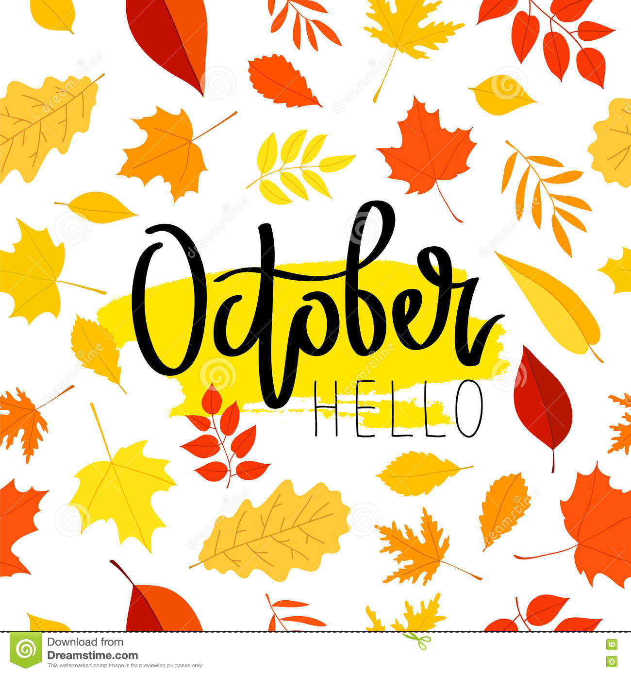October Calendar Illustration : Hello october the trend calligraphy stock vector