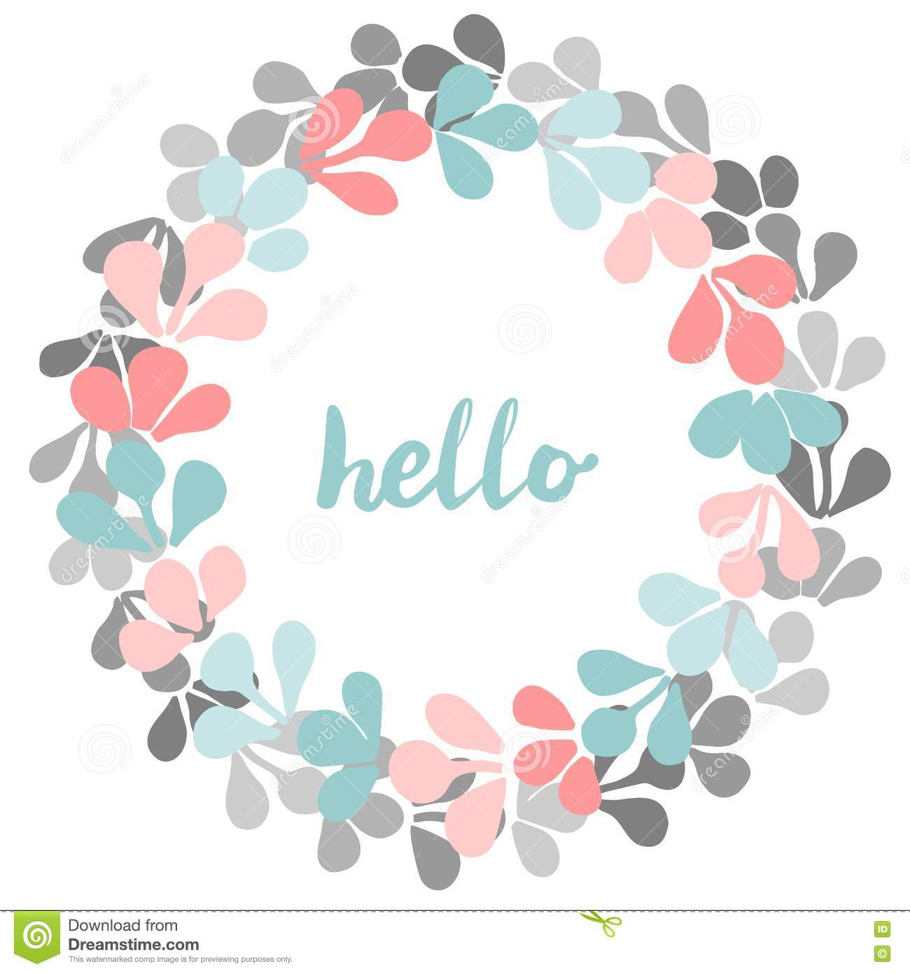 Vector round frame with pink flowers on white background in pastel - Hello Pastel Vector Wreath On White Background Stock Image