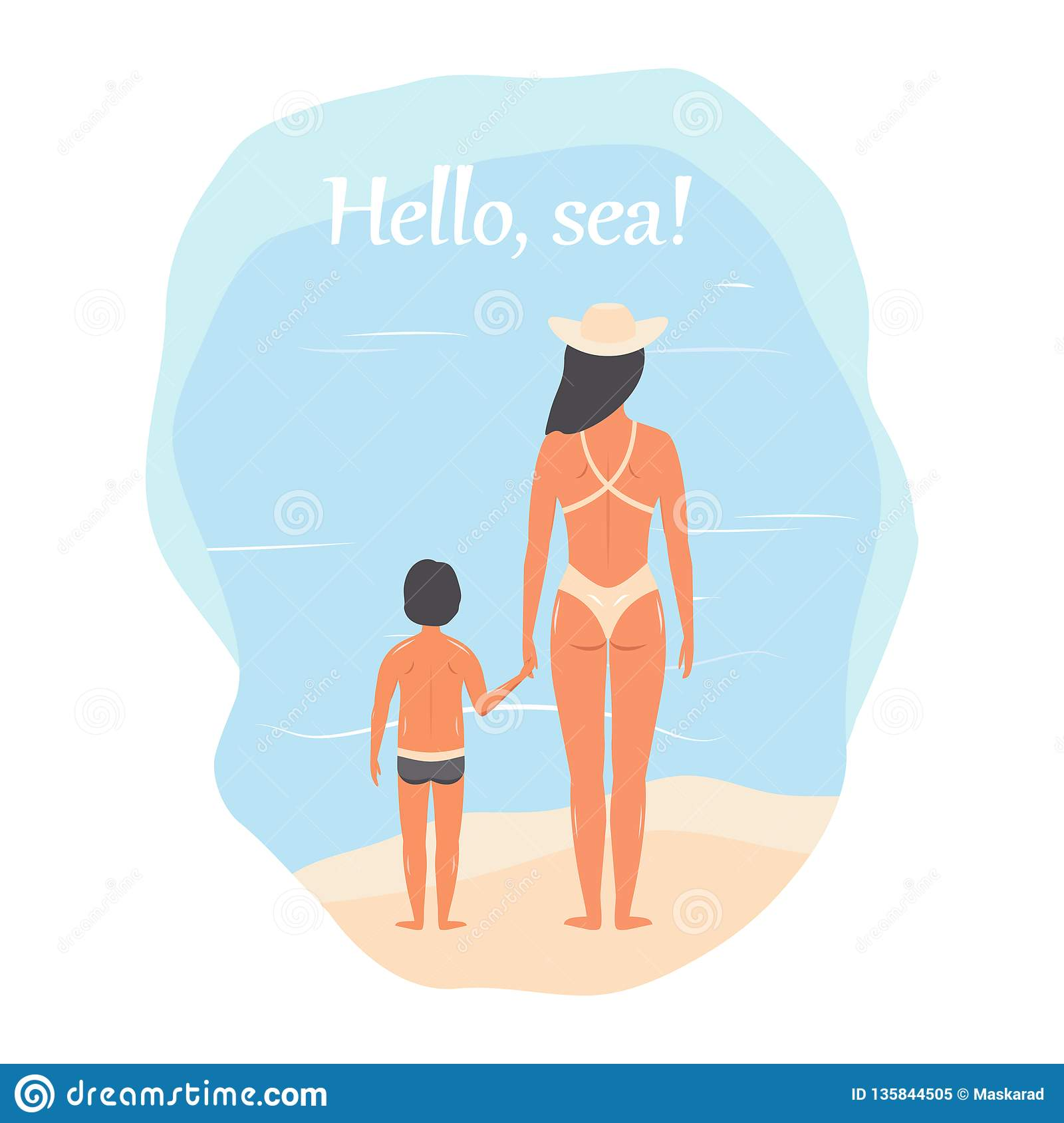 58079390f4 Hello, Sea! People In Beach Clothes: Mother And Son, Woman With A ...