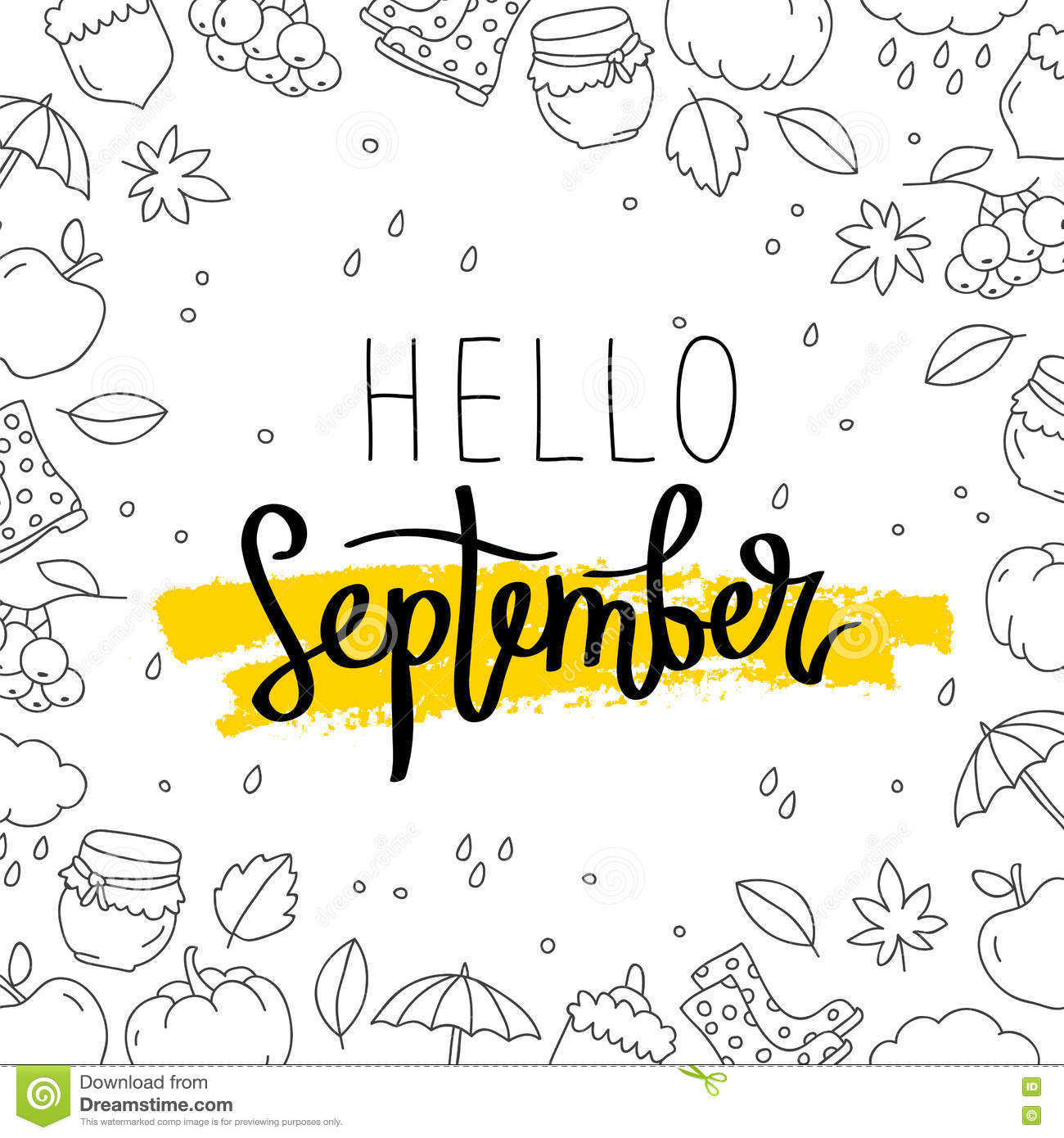 Hello September. The Trend Calligraphy. Vector Illustration On White  Background With A Smear Of