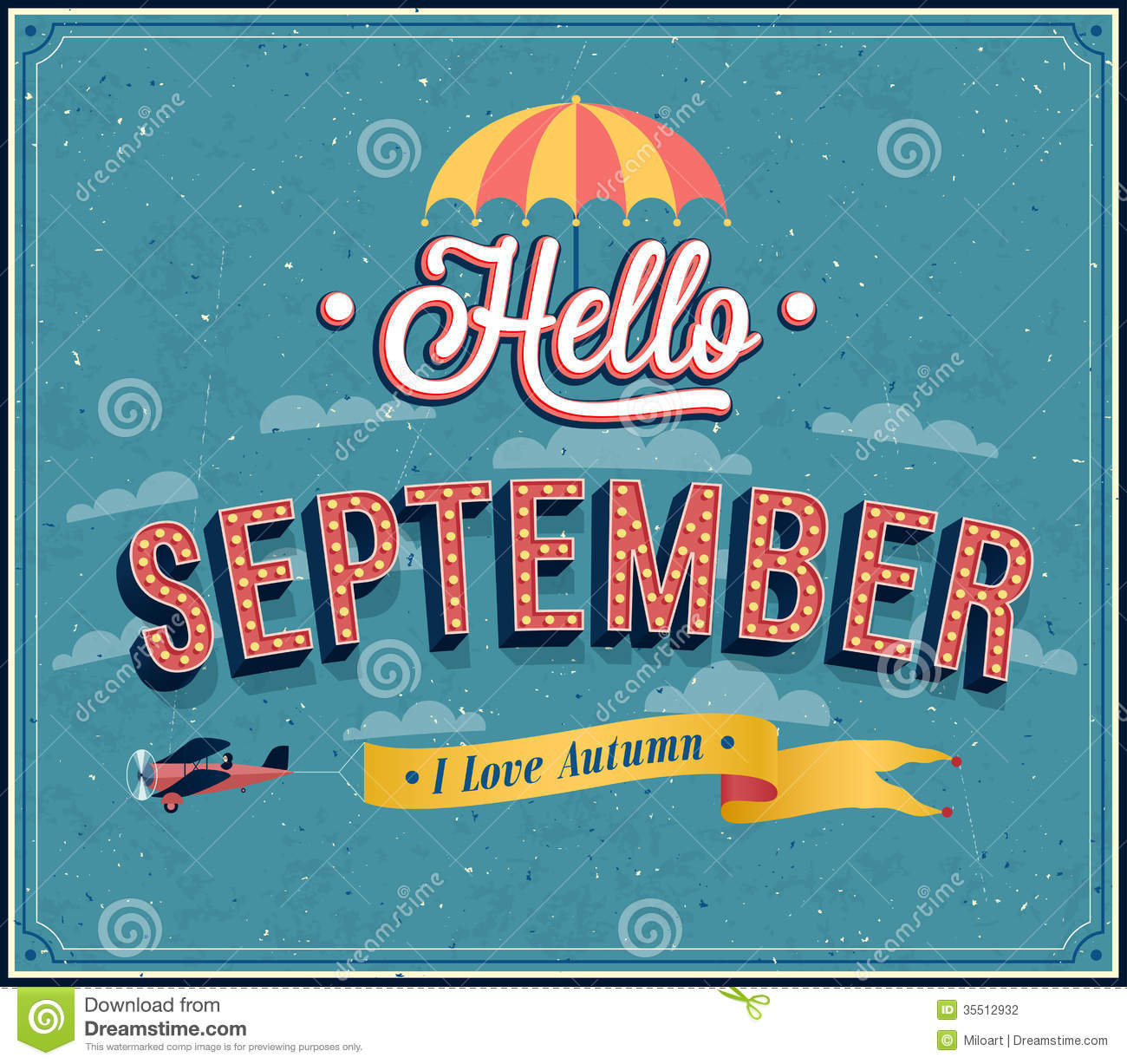 Calendar Vintage Vector : Hello september typographic design stock photography