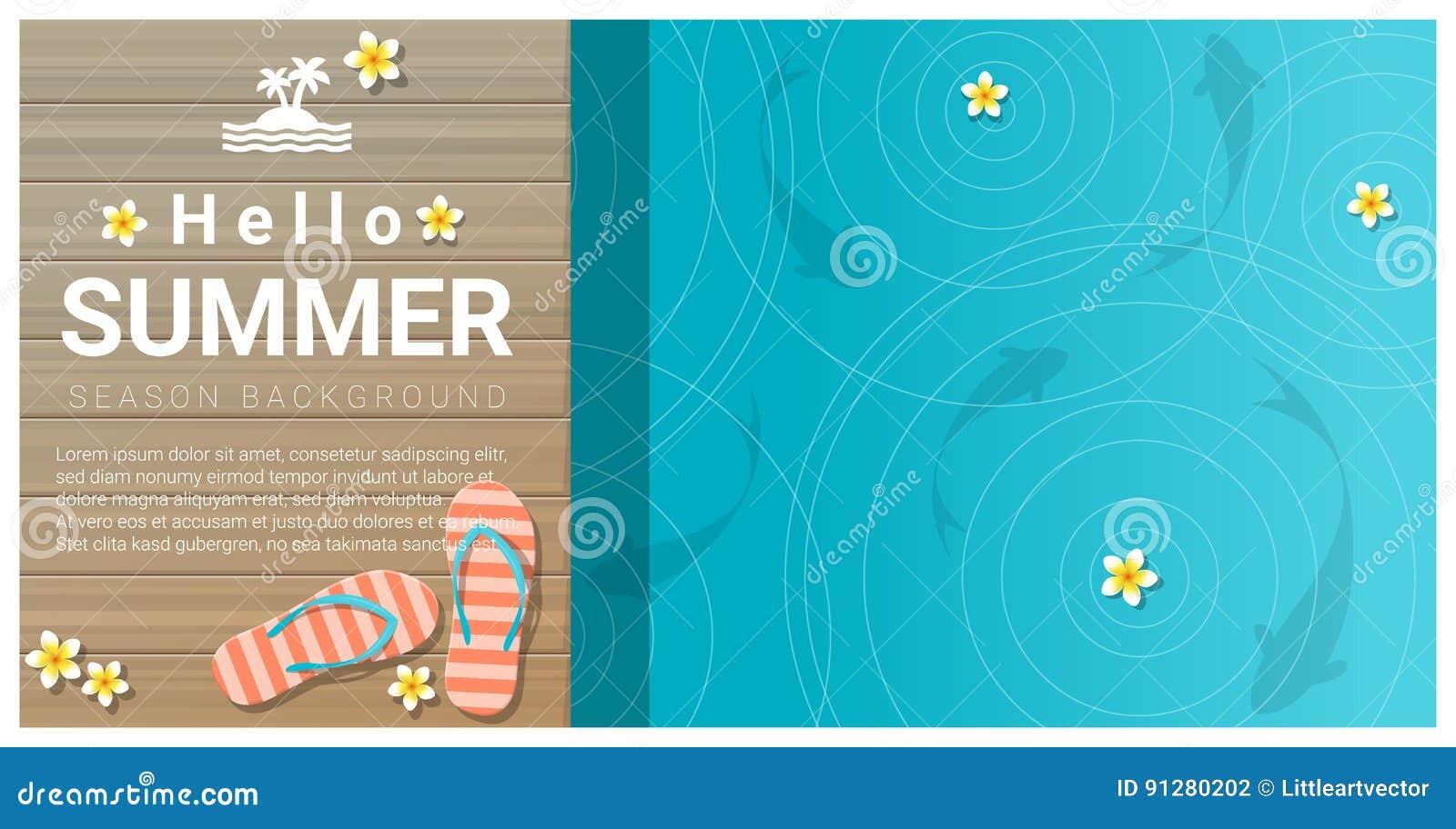 Hello sommarbakgrund med sandaler på träpir